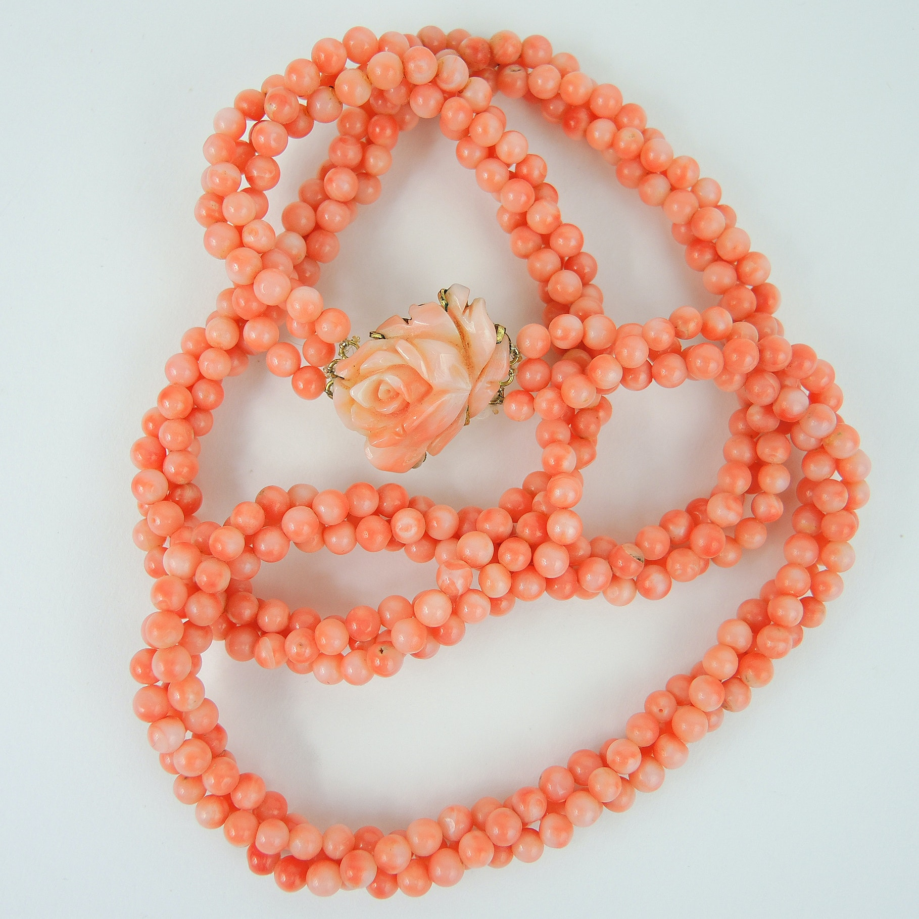 Beaded Coral Necklace with Carved Flower Pendant