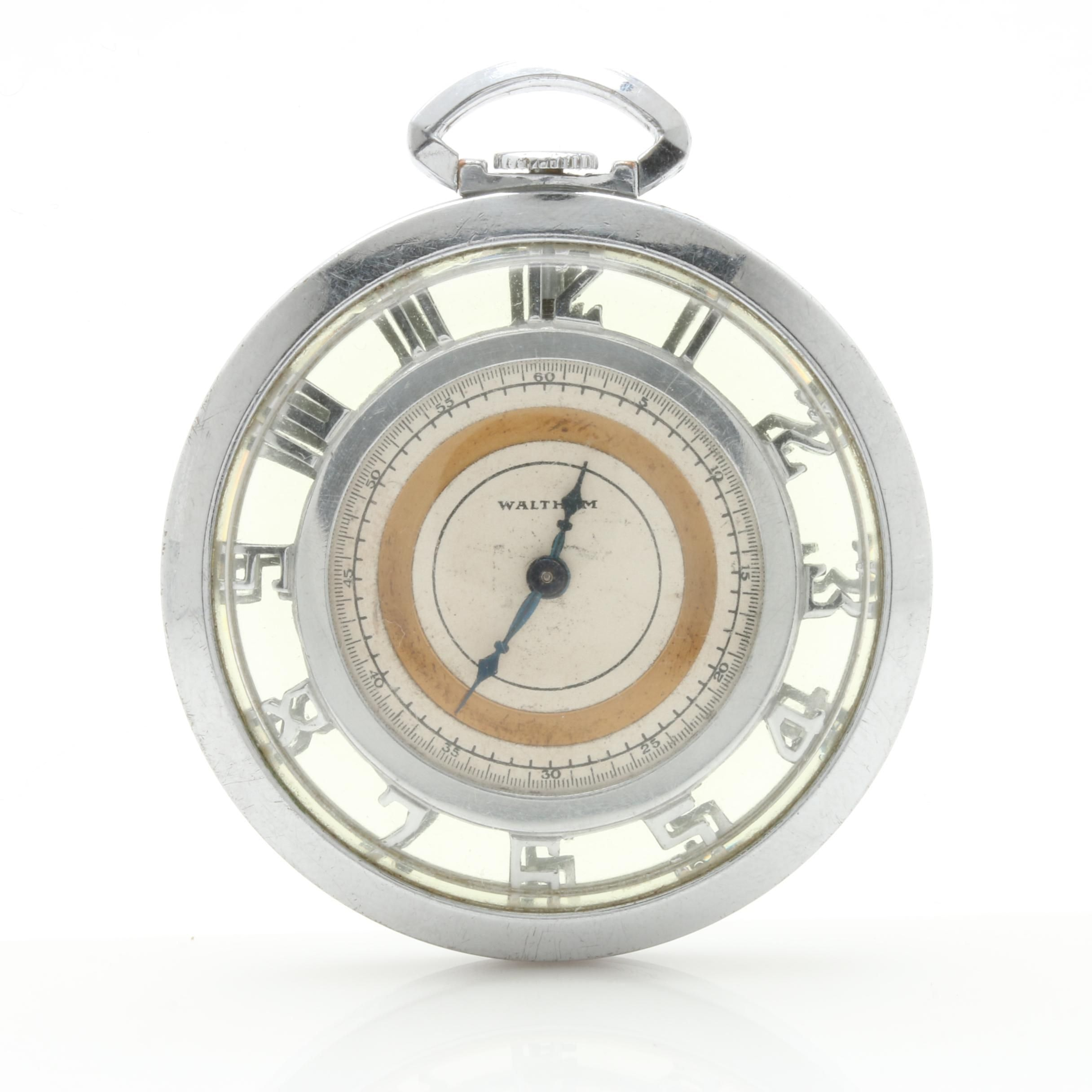 Waltham Silver-Tone Skeleton Pocket Watch