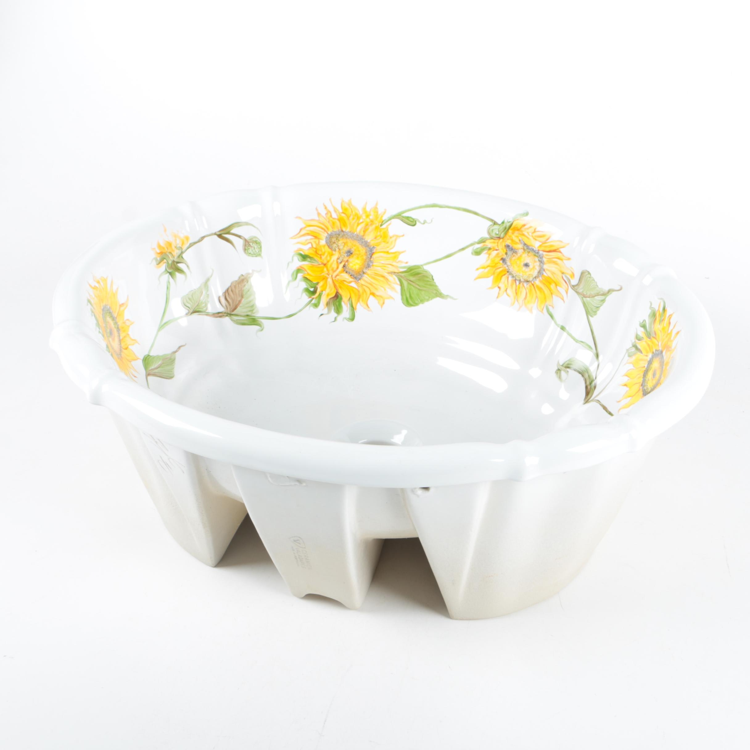 Porcelain Sink Basin with Sunflowers by Ceramica Valadares