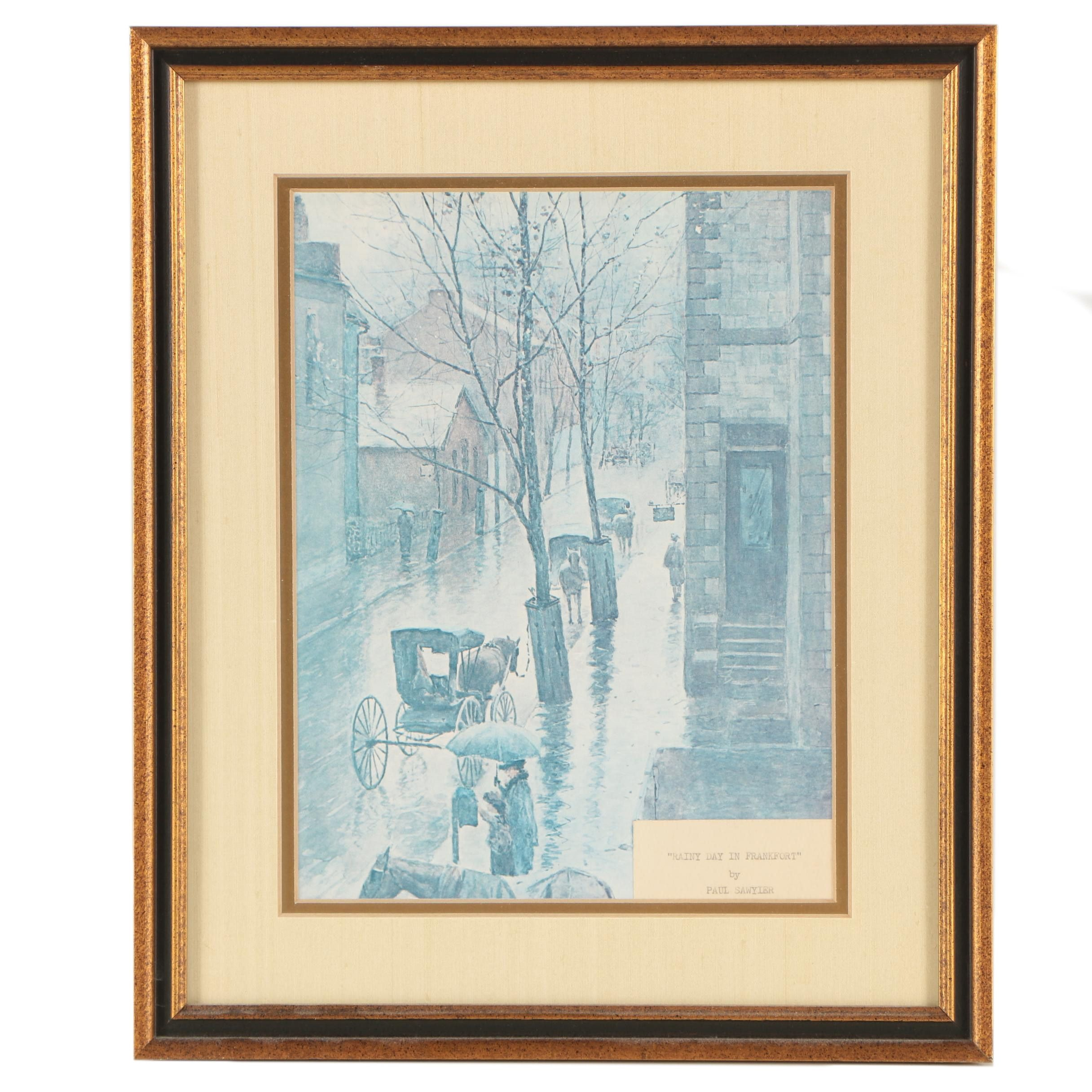 """Offset Lithograph After Paul Sawyier """"Rainy Day in Frankfort"""""""