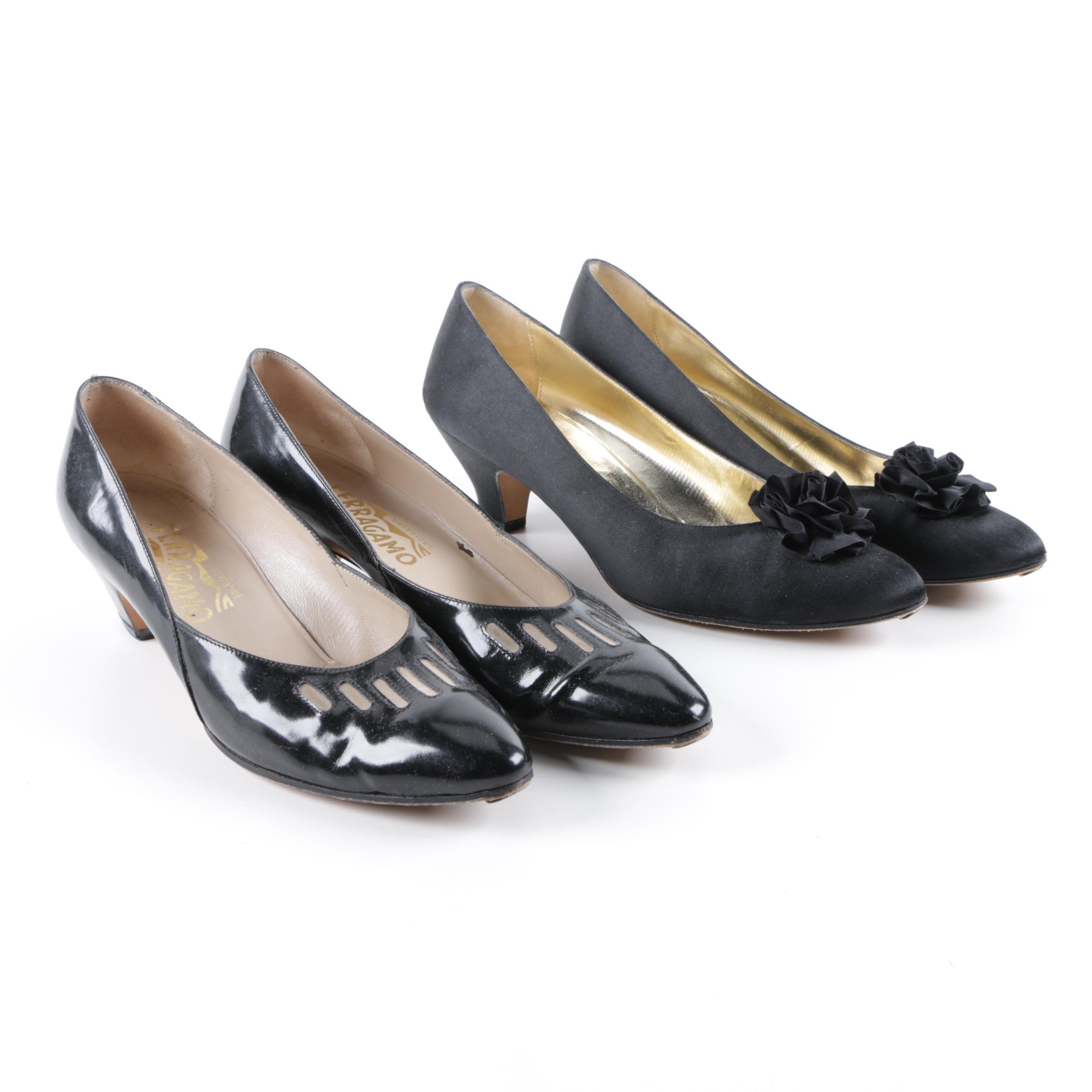 Women's Salvatore Ferragamo Patent Leather and Satin Shoes