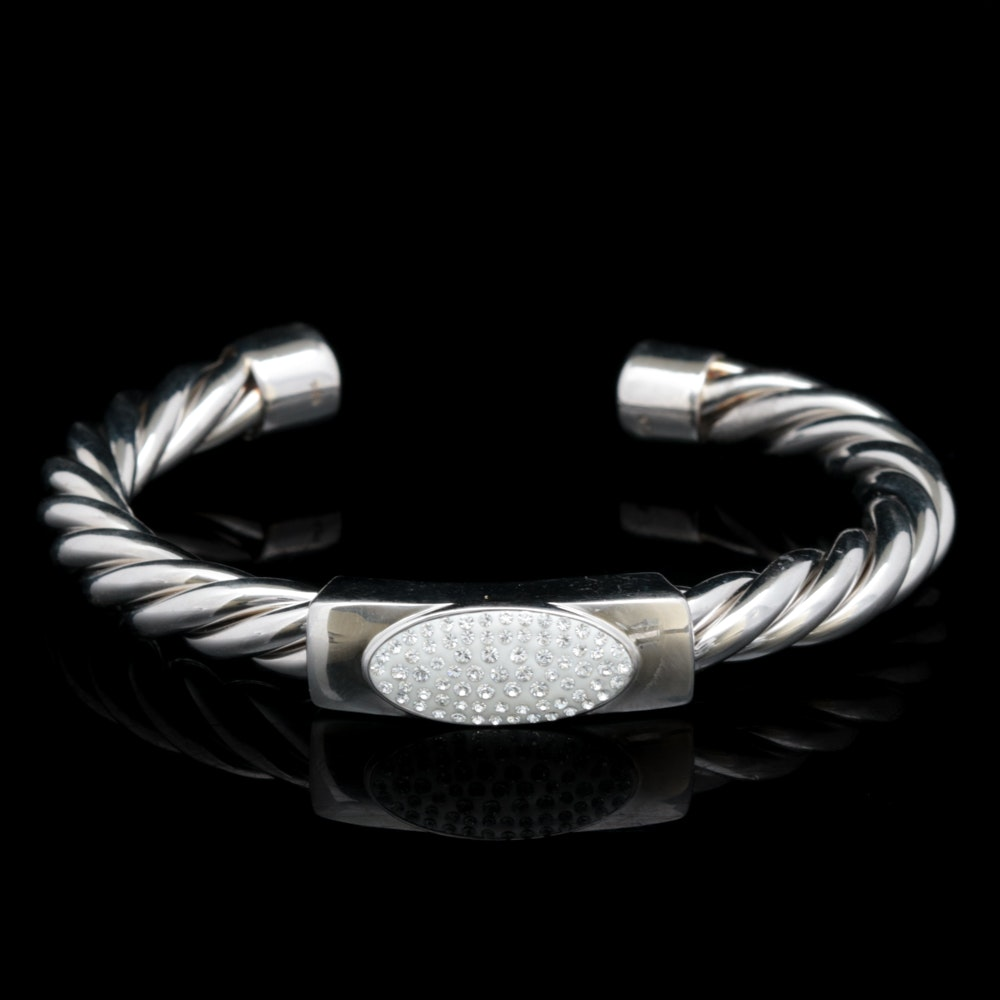 Sterling Silver and Crystal Cuff Bracelet