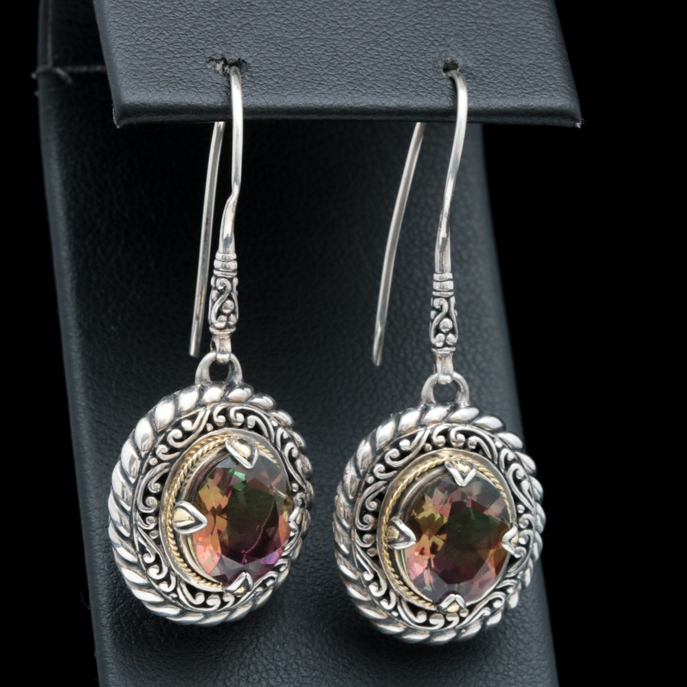Robert Manse Sterling Silver, 18K Yellow Gold and Coated Quartz Earrings