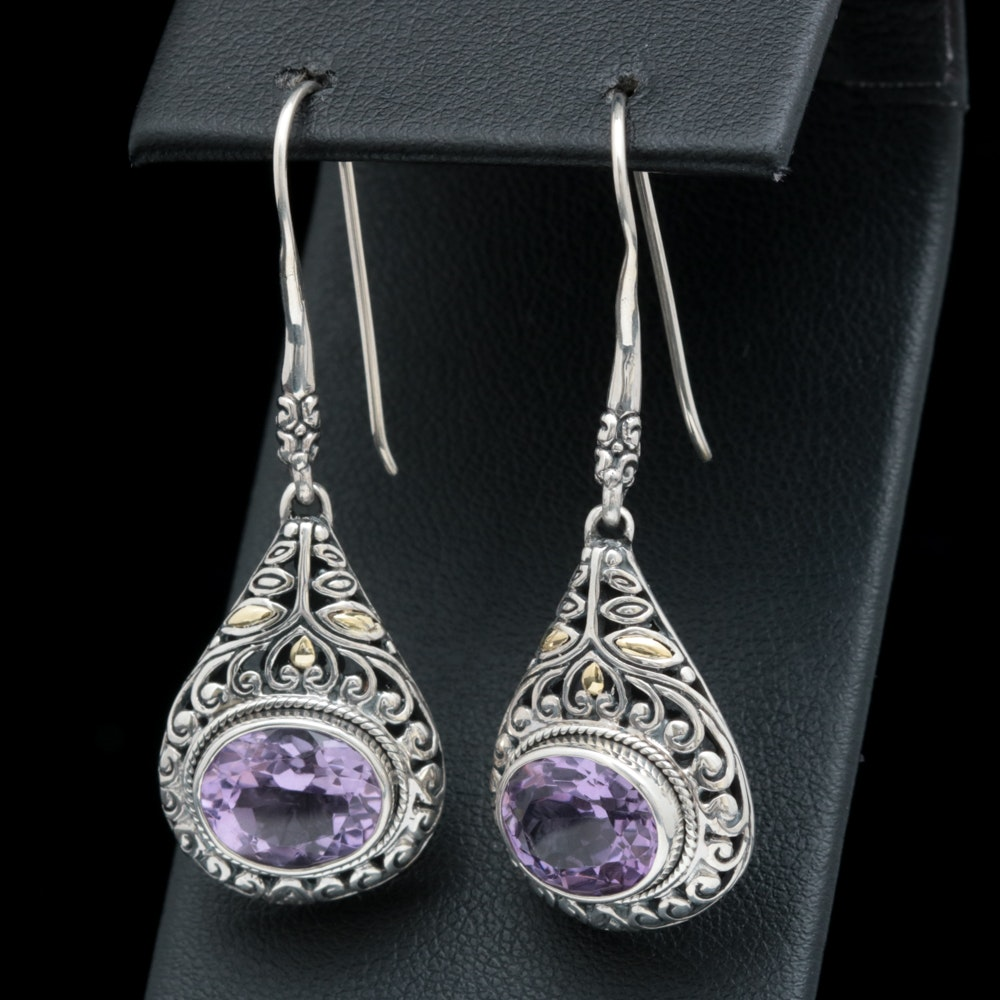 Robert Manse Sterling Silver, 18K Yellow Gold and Amethyst Dangle Earrings
