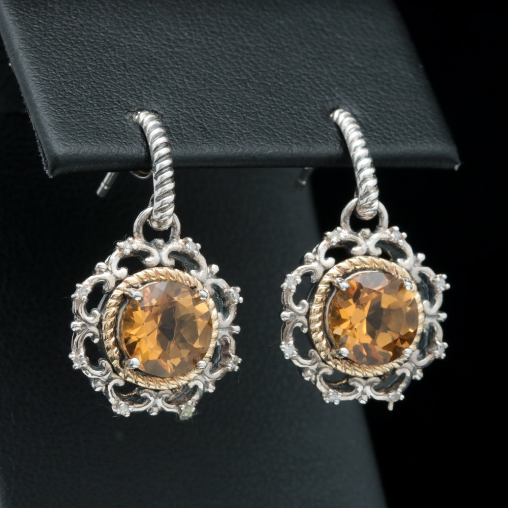 Sterling Silver, 14K Yellow Gold and Citrine Dangle Earrings