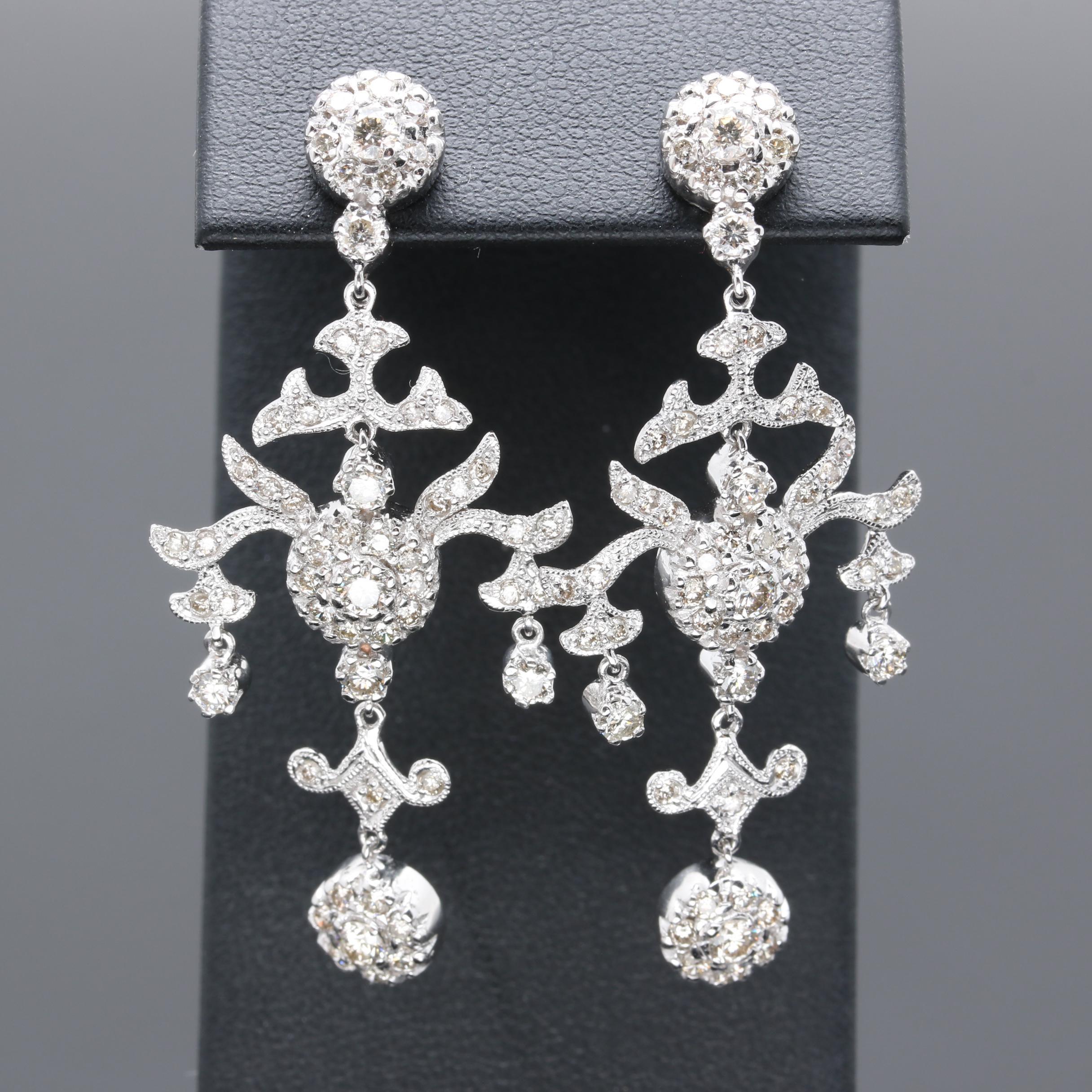 14K White Gold 2.75 CTW Diamond Chandelier Earrings