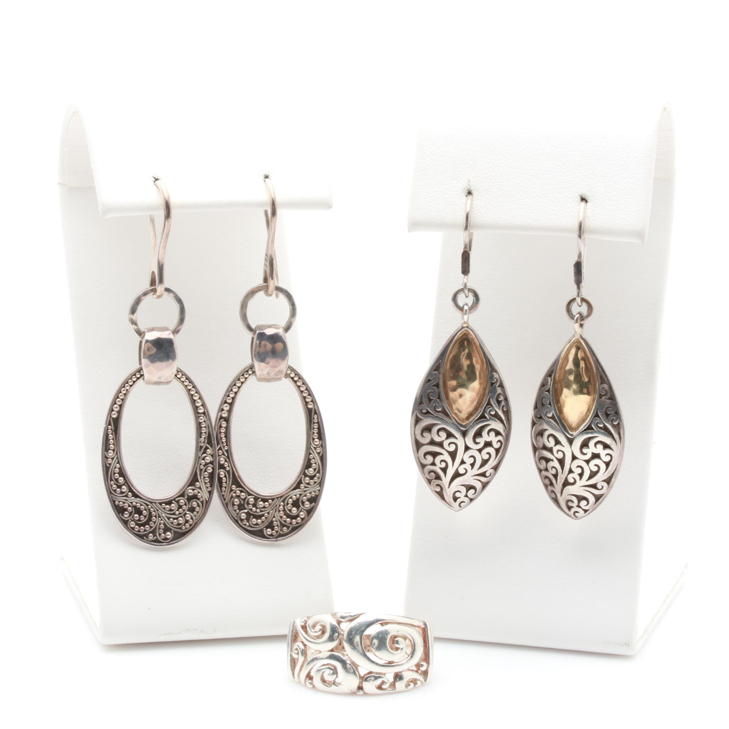 Sterling Silver Earrings and Ring Featuring Lois Hill