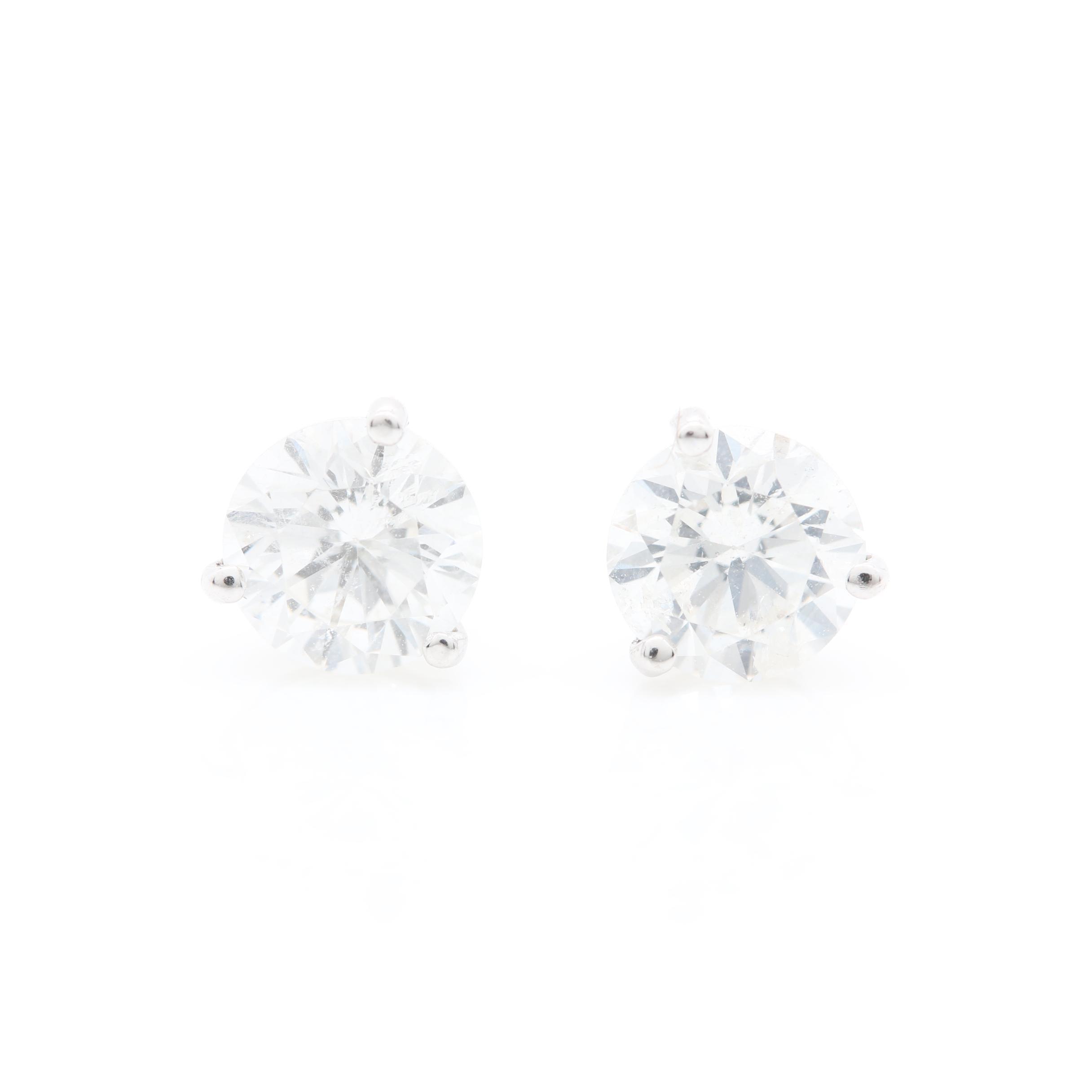 14K White Gold 1.19 CTW Diamond Stud Earrings