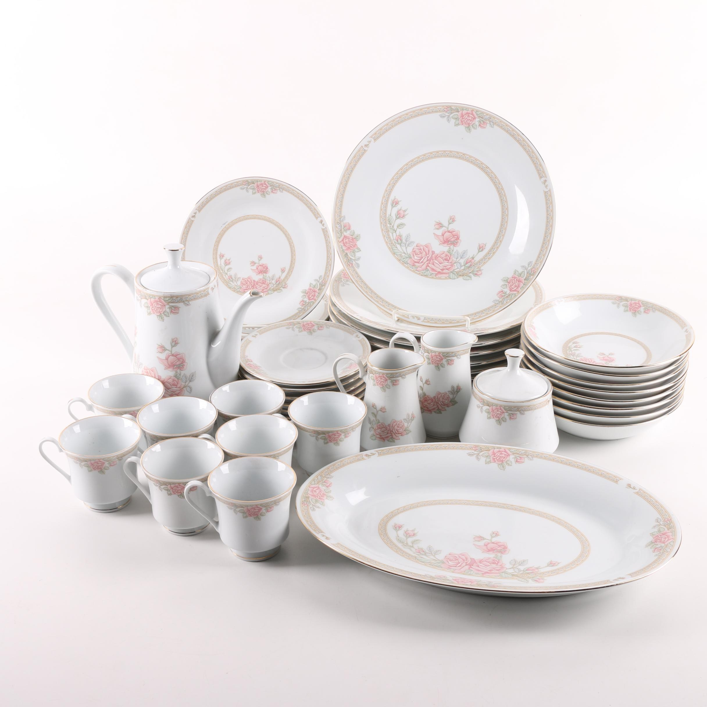 Tienshan Pink Rose Porcelain Dinnerware and Serving Dishes