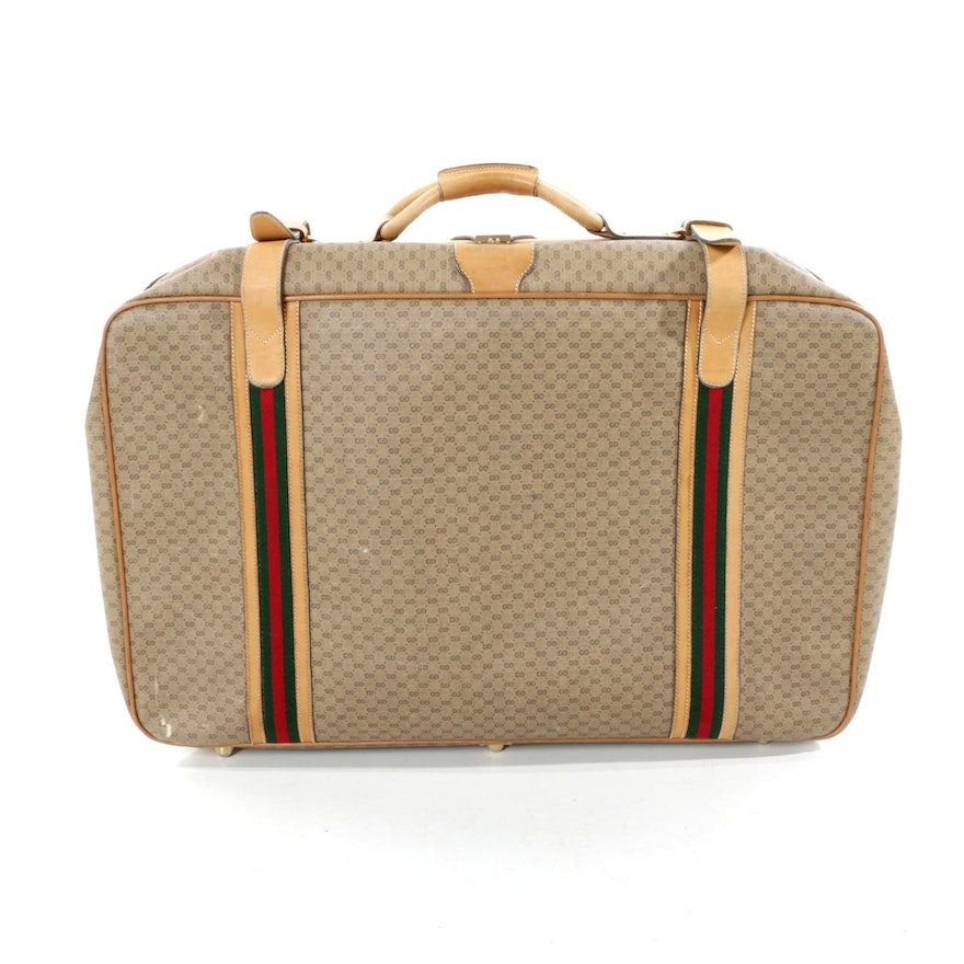 09692bc13317 Gucci Supreme Tan Canvas and Leather Suitcase