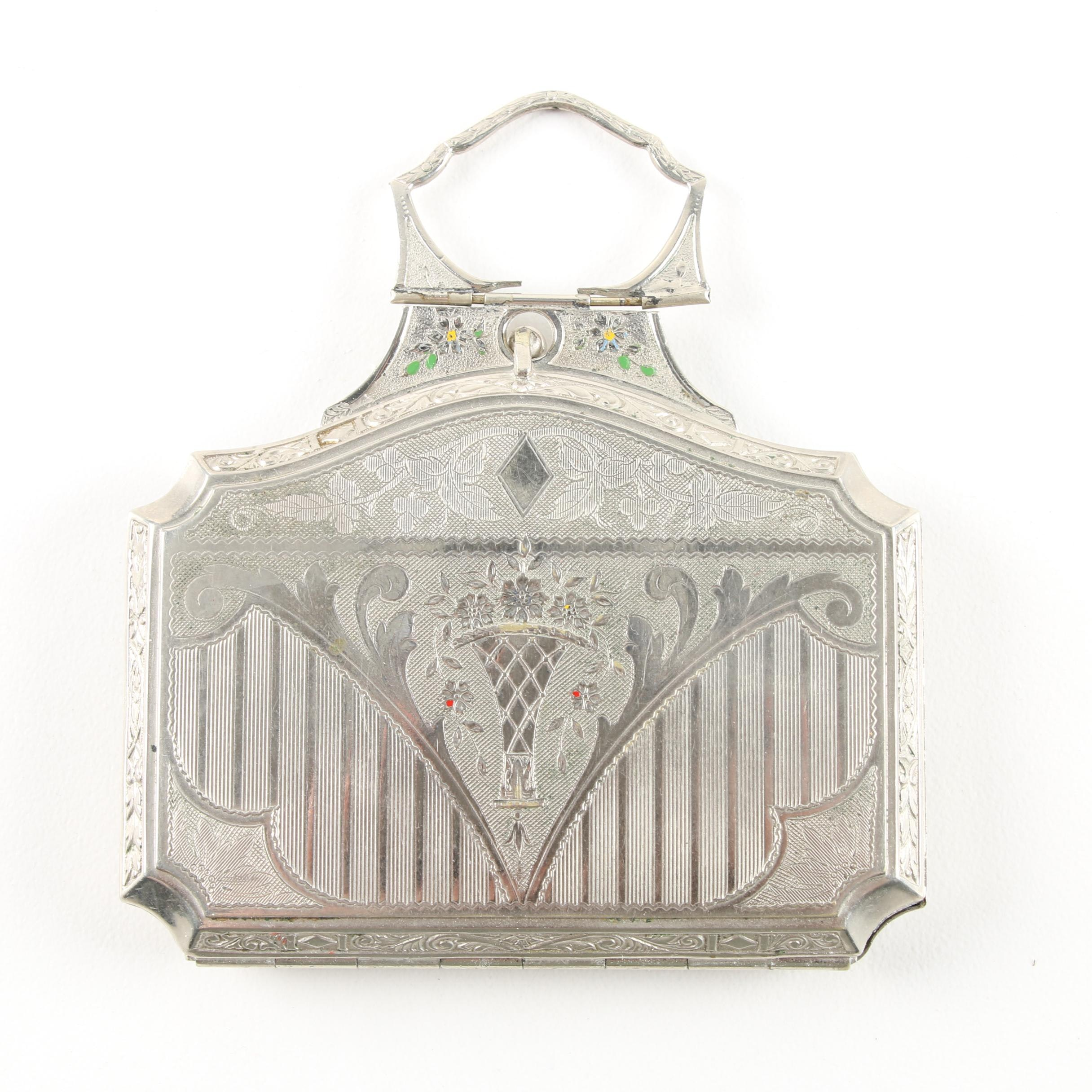 Early 20th Century Vintage Metal Compact with Mirror and Cosmetic Compartments