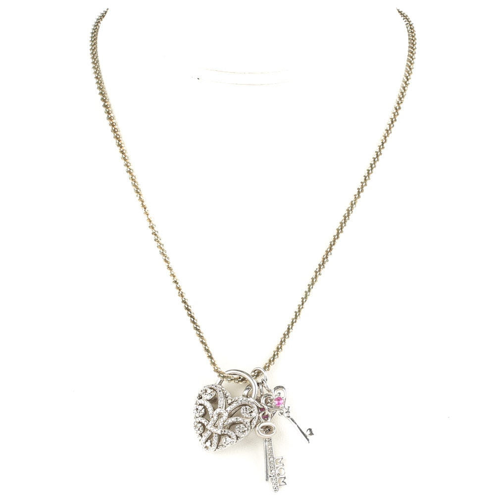 Sterling Silver and Diamond Heart and Keys Pendant Necklace