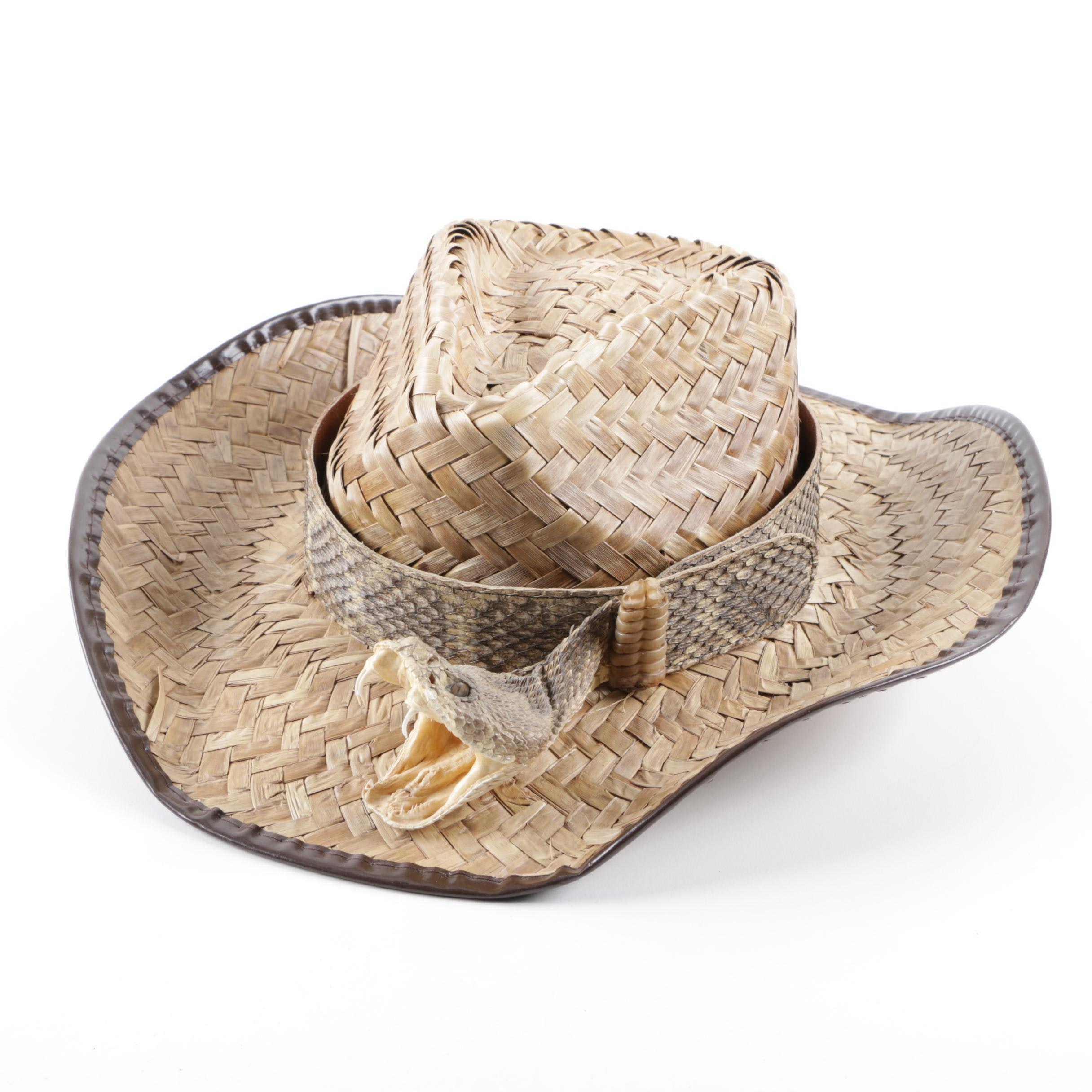 Straw Hat with Rattlesnake Crown Band
