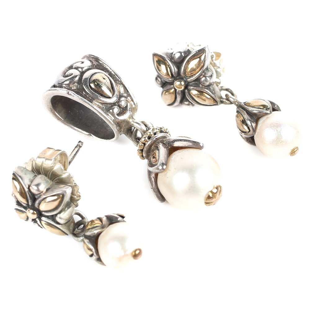 Sterling Silver, 18K Yellow Gold, and Pearl Earrings and Pendant