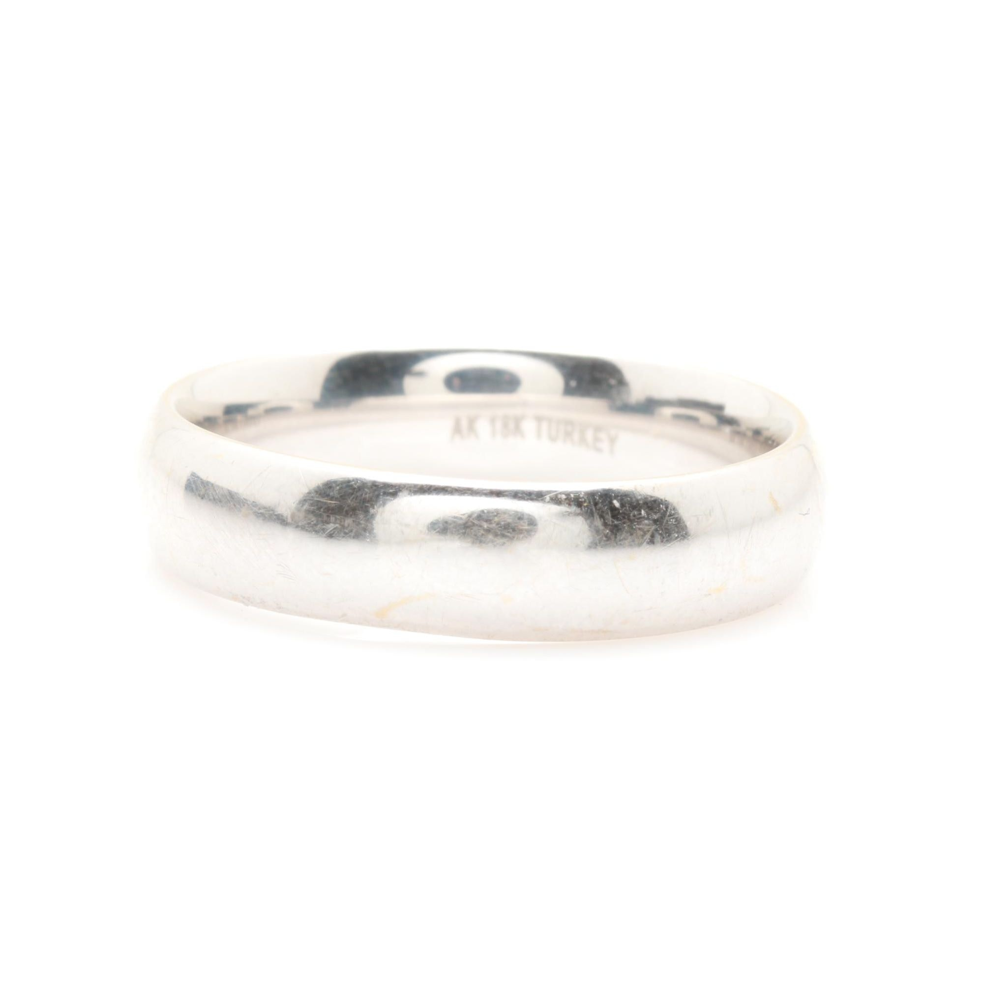 18K White Gold Polished Comfort Fit Band