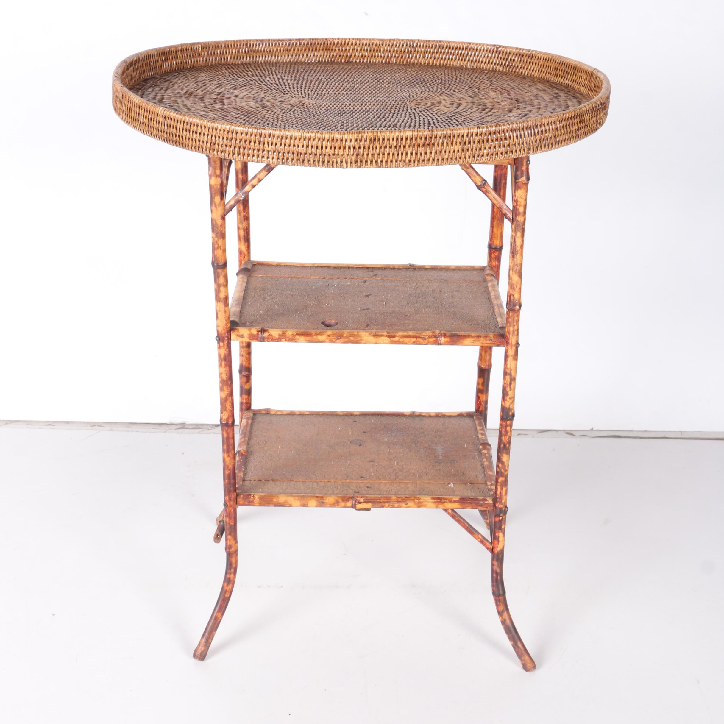 Painted Rattan Side Table with Tray Top