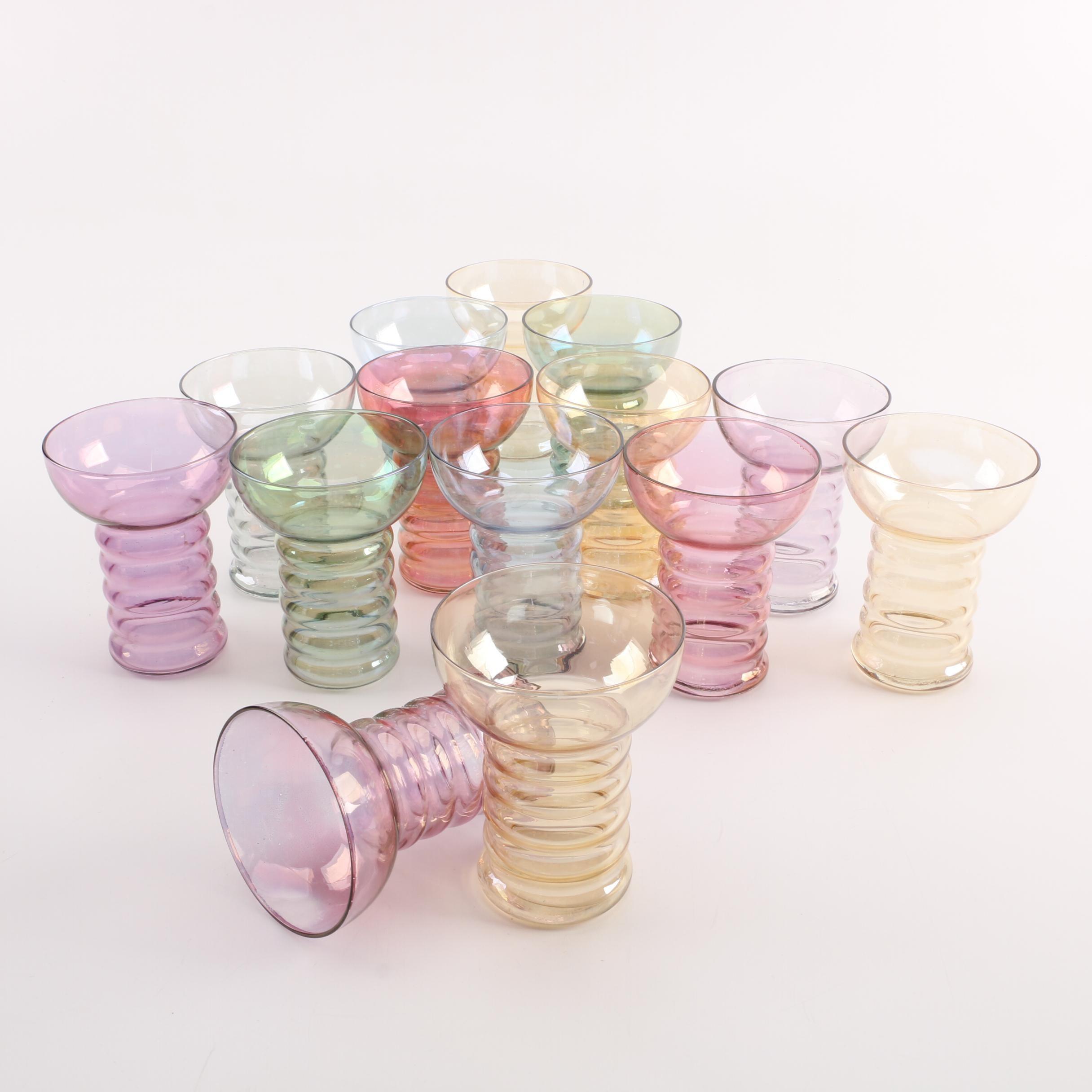 Vintage Colorful Ribbed Luster Glasses