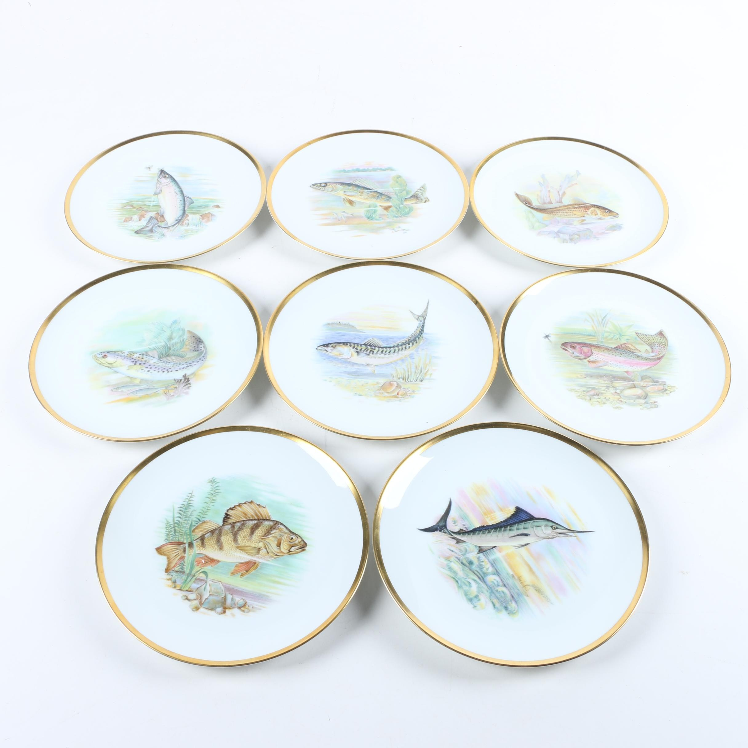 "Mid-Century Hutschenreuther ""Fish"" Porcelain Salad Plates"