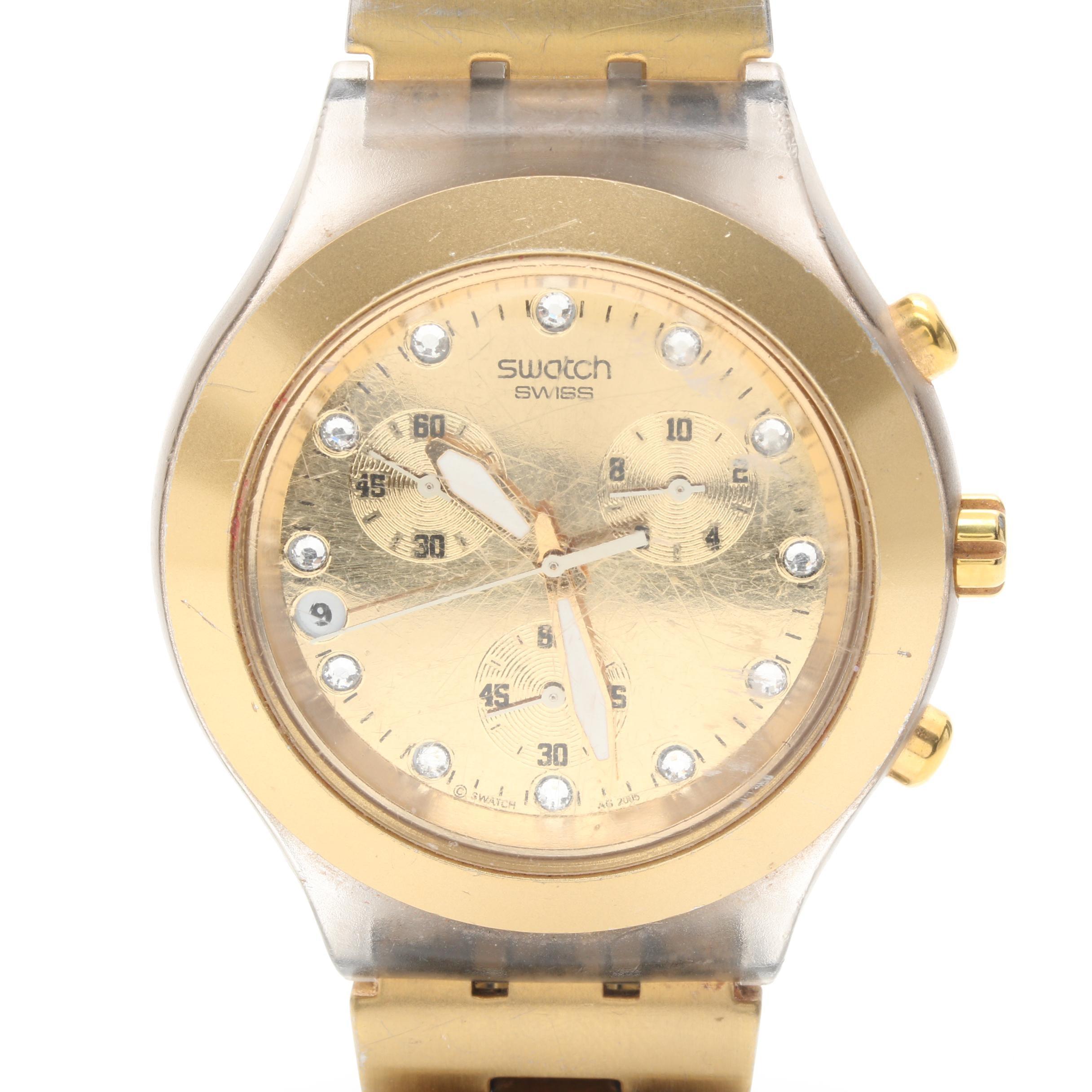 Gold Tone Swatch Chronograph Wristwatch