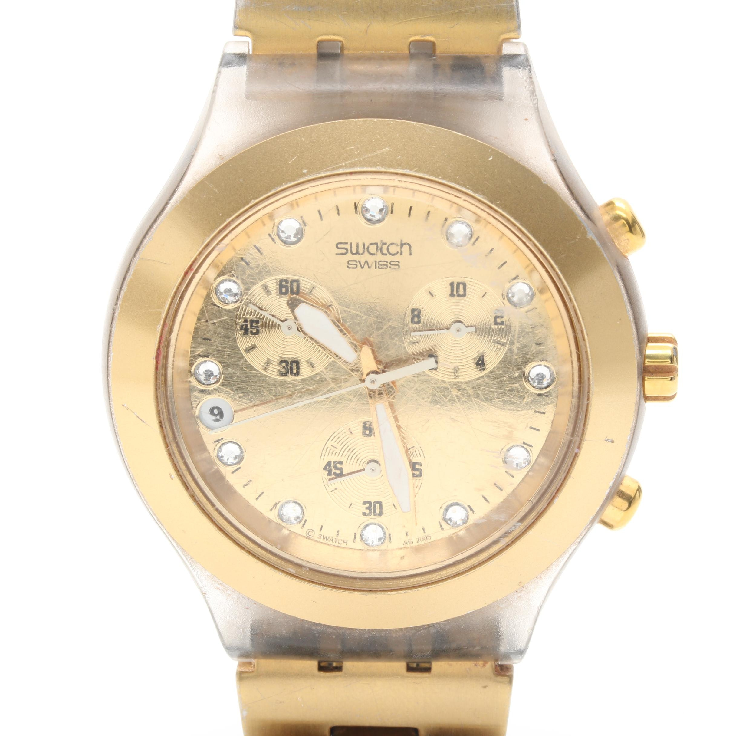 Gold Tone Swatch Chronograph Wristwatch