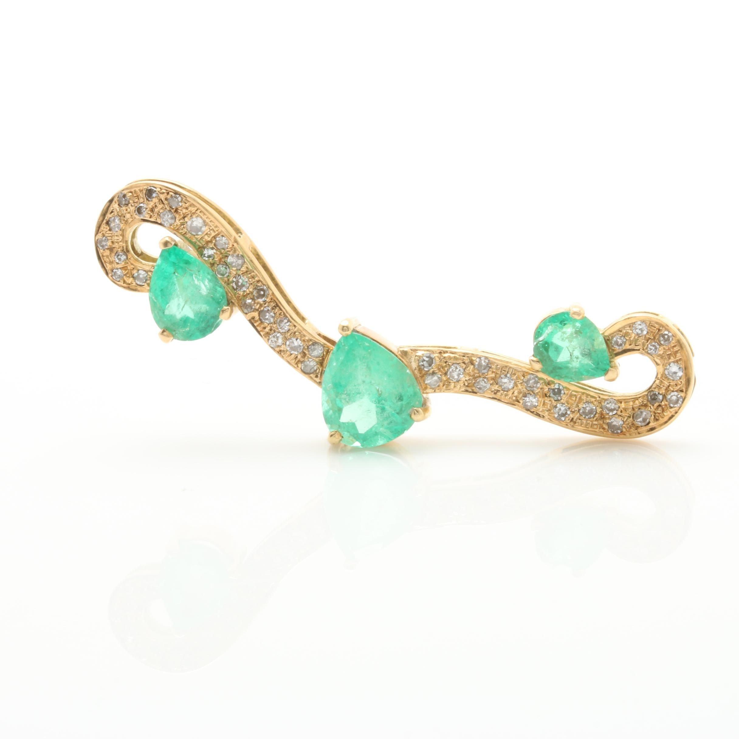 18K Yellow Gold 3.64 CTW Emerald and Diamond Pendant