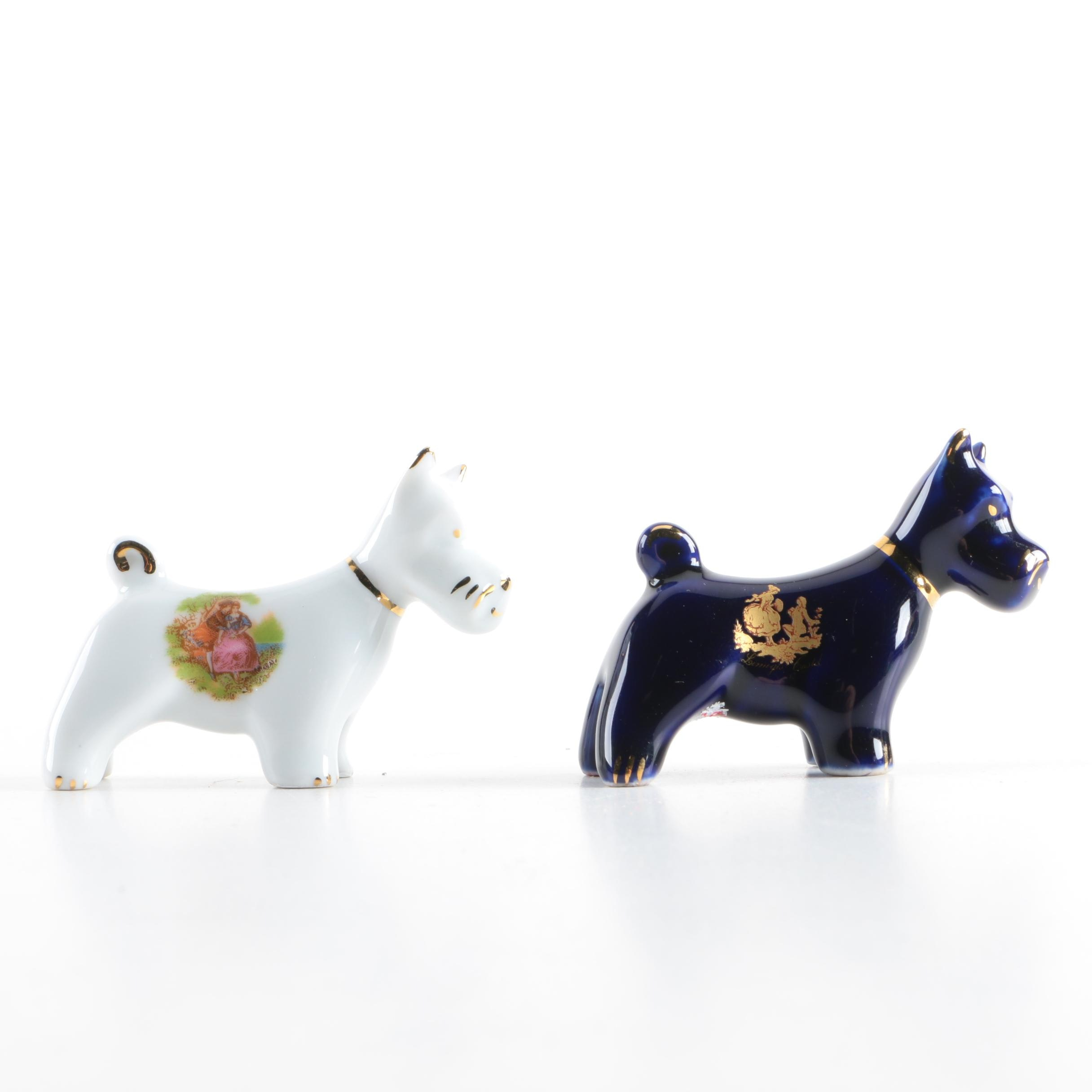 Limoges Castel, France Porcelain Scottish Terrier Dog Figurines