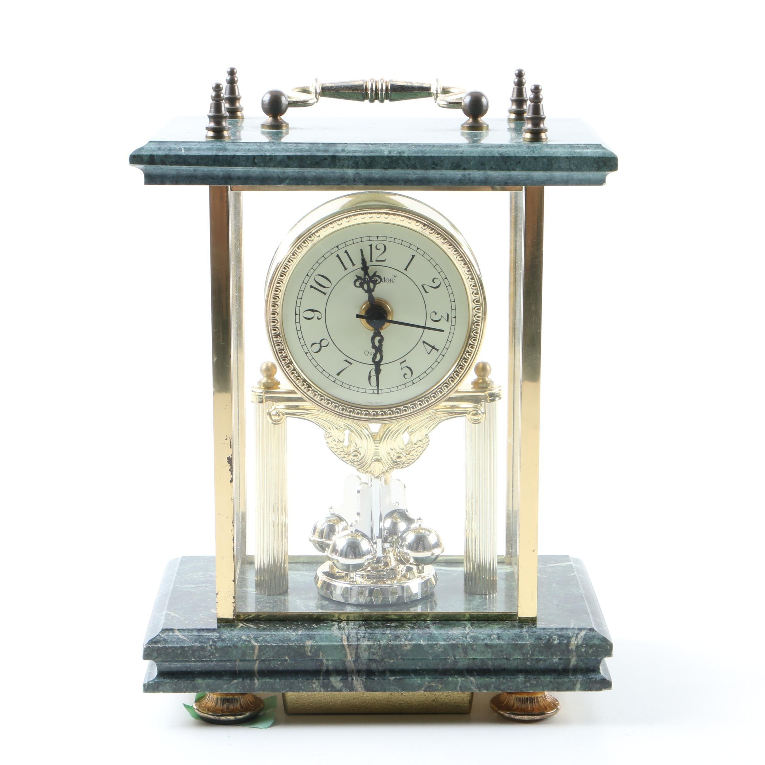 Commodore Quartz Carriage Clock with Marble Top and Base