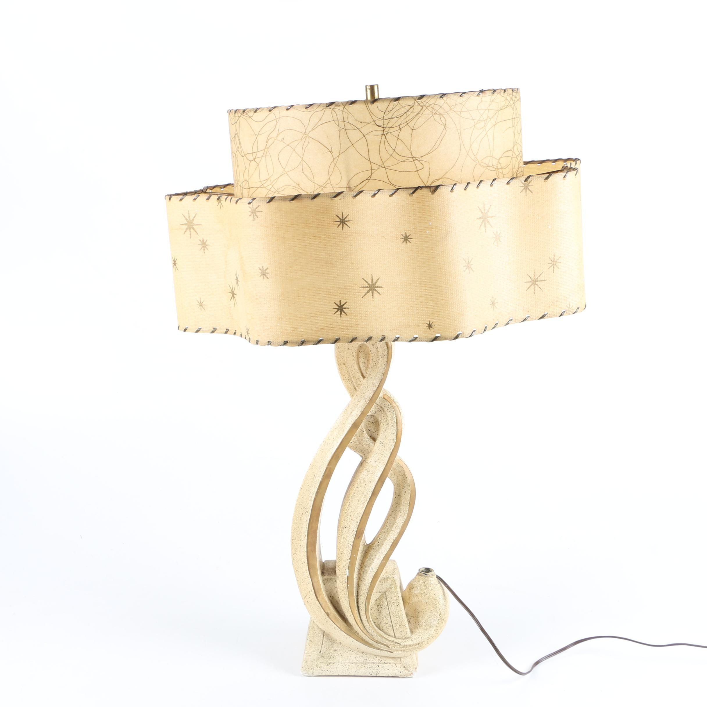 Mid-Century Modern Style Table Lamp With Double Fiberglass Shade