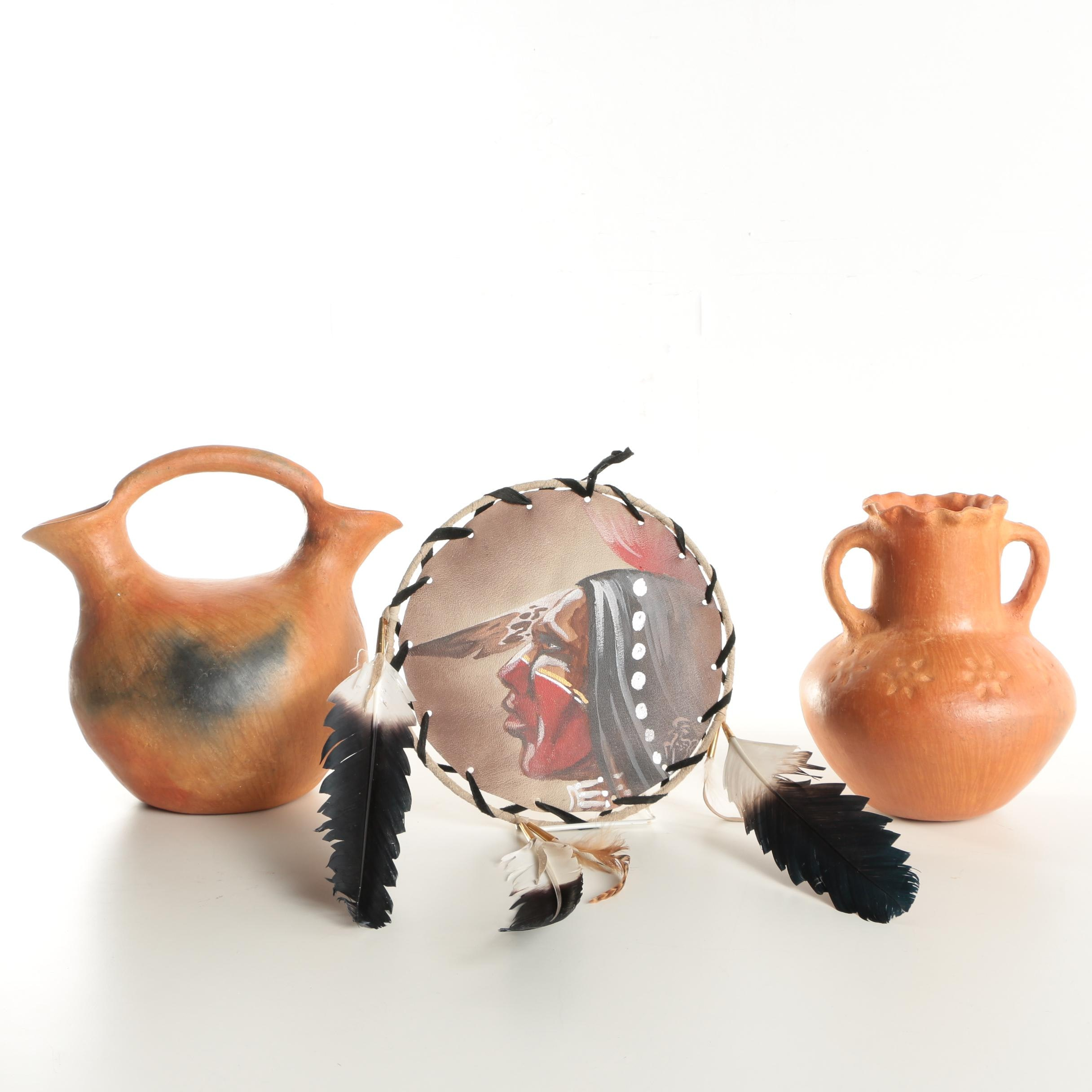 Mexican Redware Pottery and Native American Inspired Painting