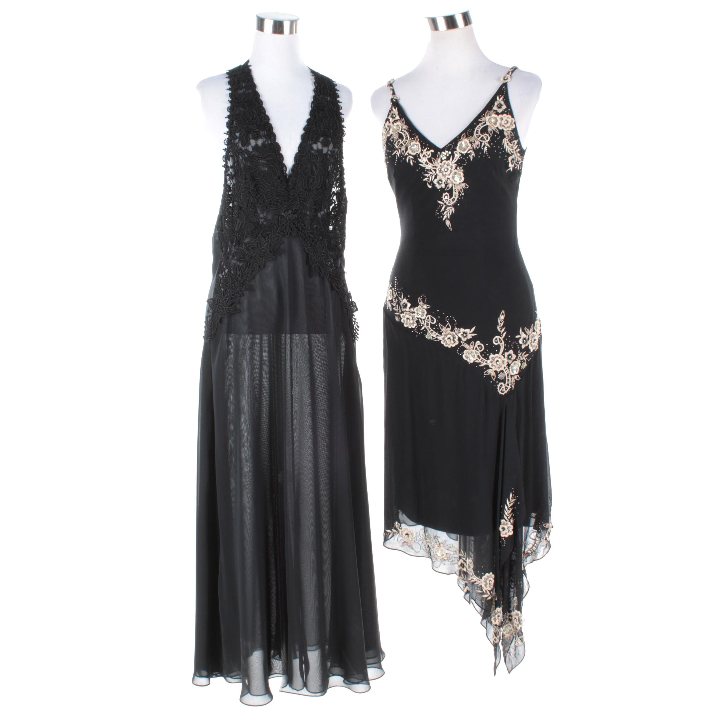 Cache Embroidered and Beaded Evening Dress and Vintage Flora Nikrooz Negligee