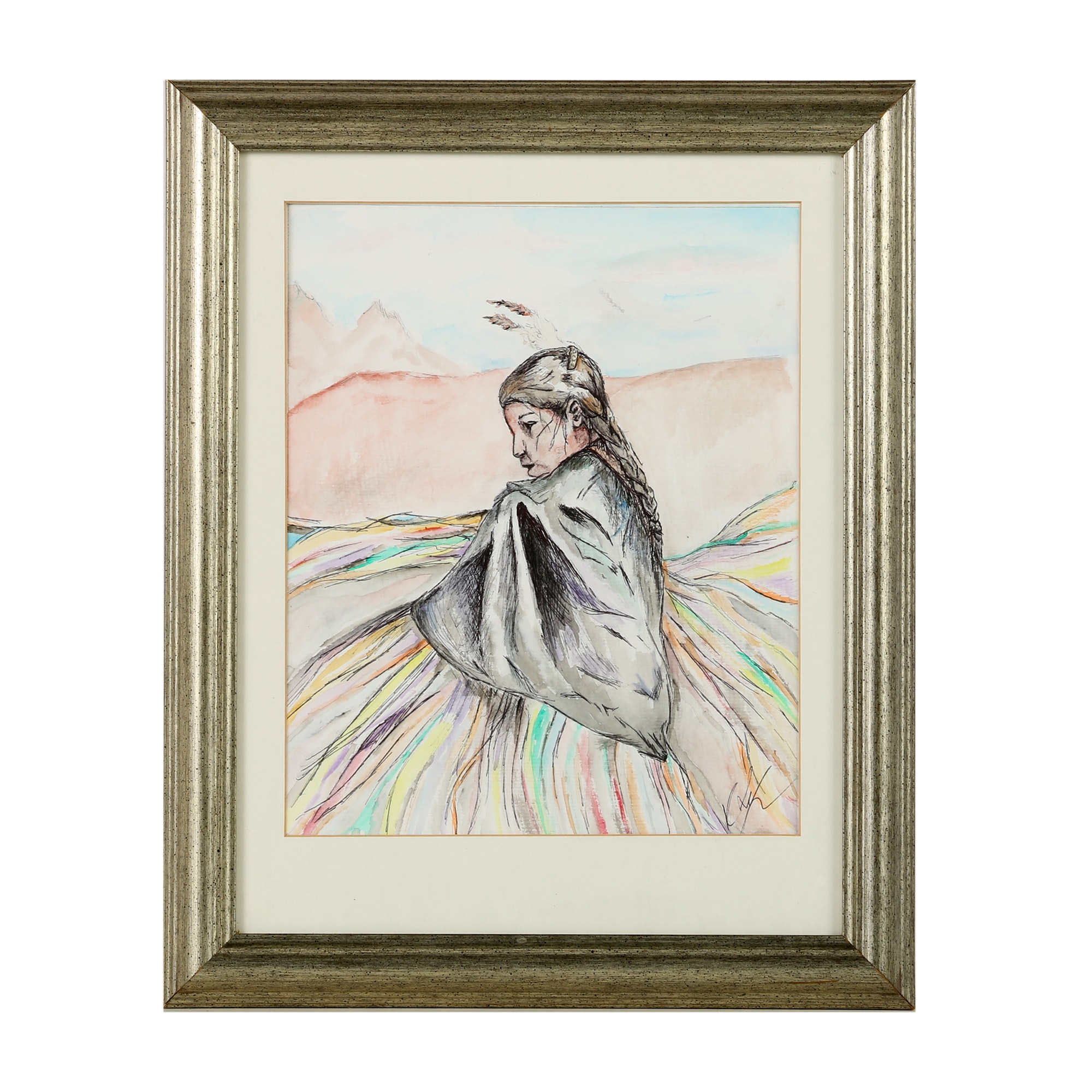 """Kristiana Yager Watercolor Painting """"Fancy Shawl Dance"""""""