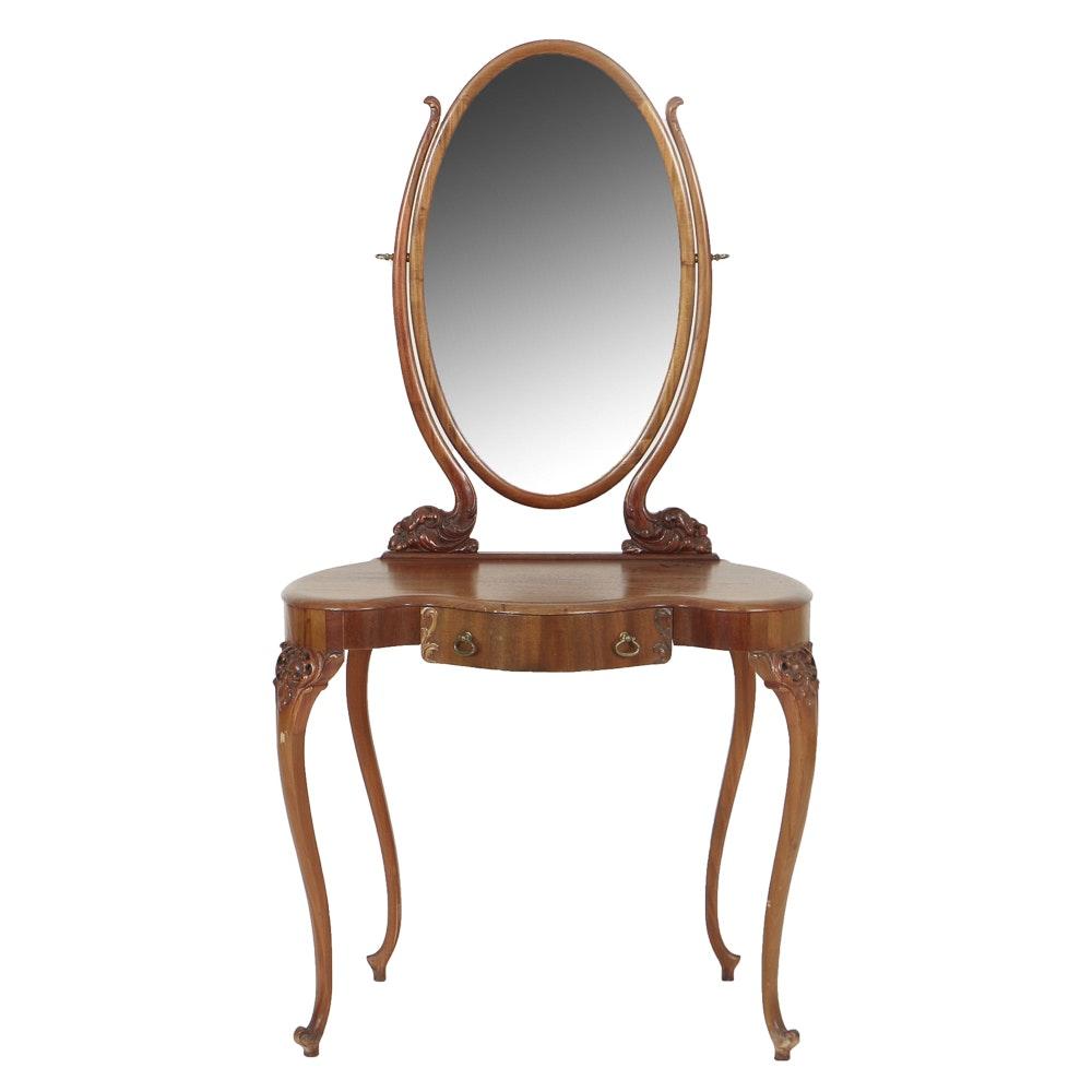 Vintage Louis XV Style Mahogany Vanity with Mirror