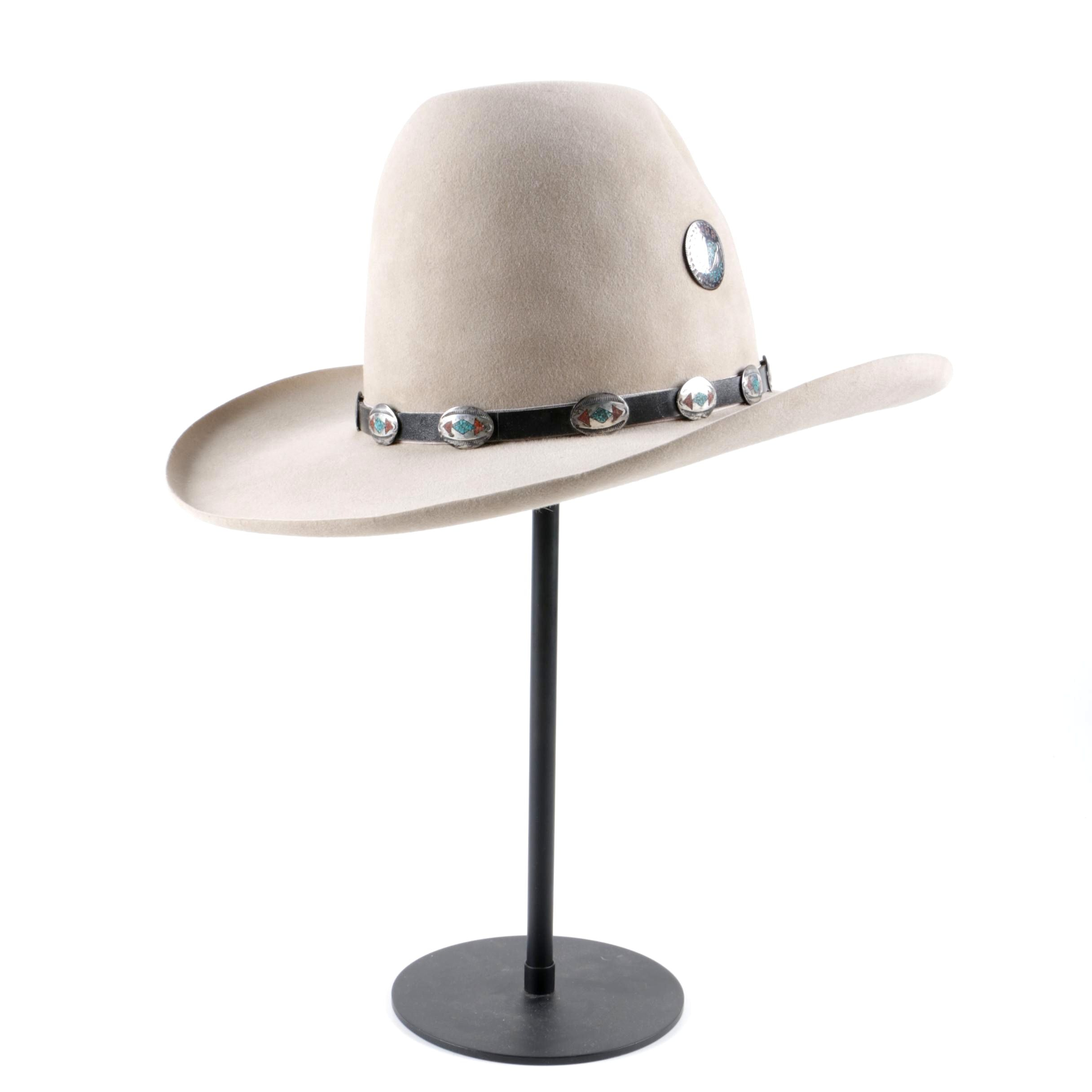 Men's Custom Made Kirkpatrick Felt Cowboy Hat with Sterling Silver Accents