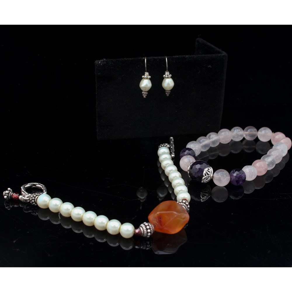 Silver Toned Stone Jewelry