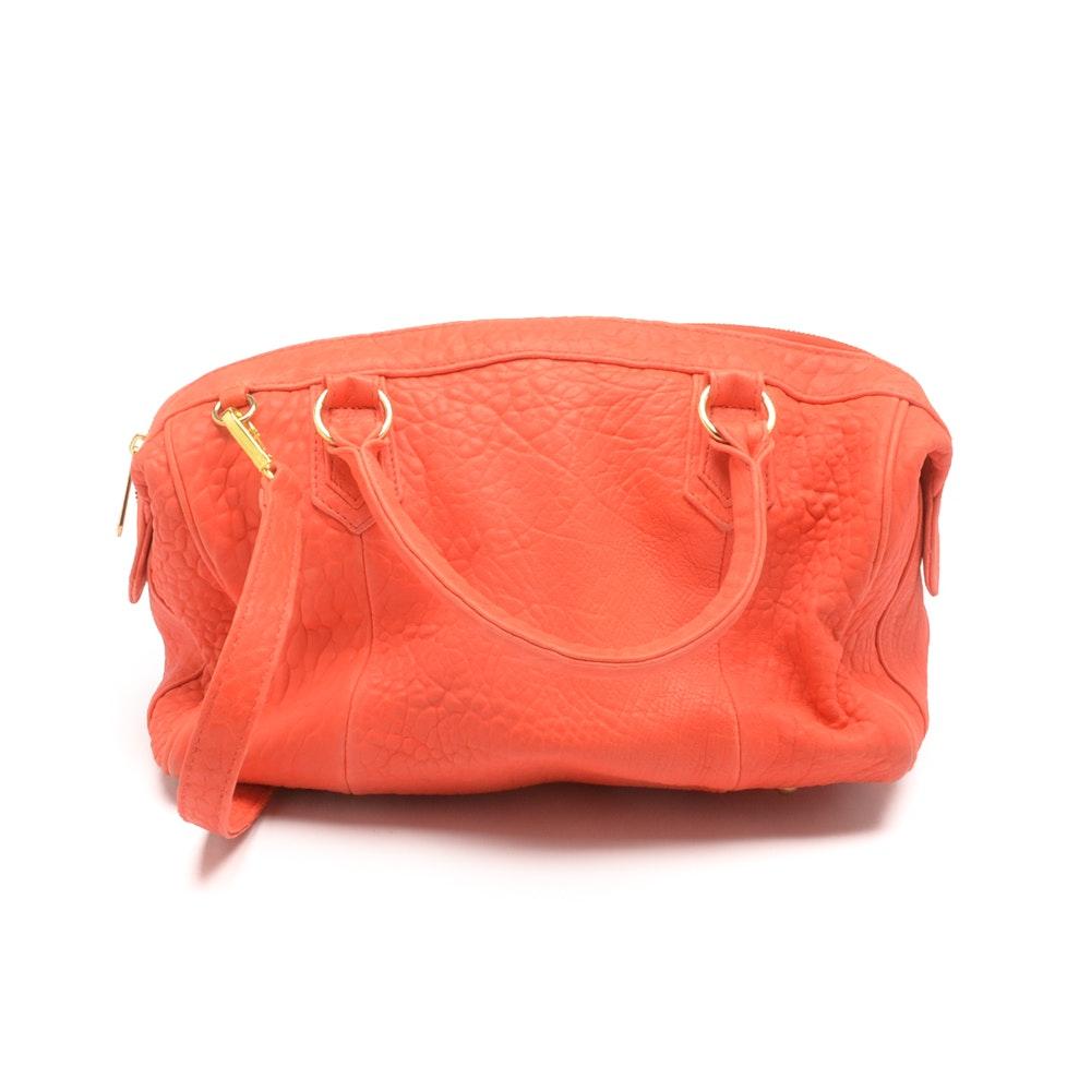 Lauren Merkin Orange Leather Duffle Handbag