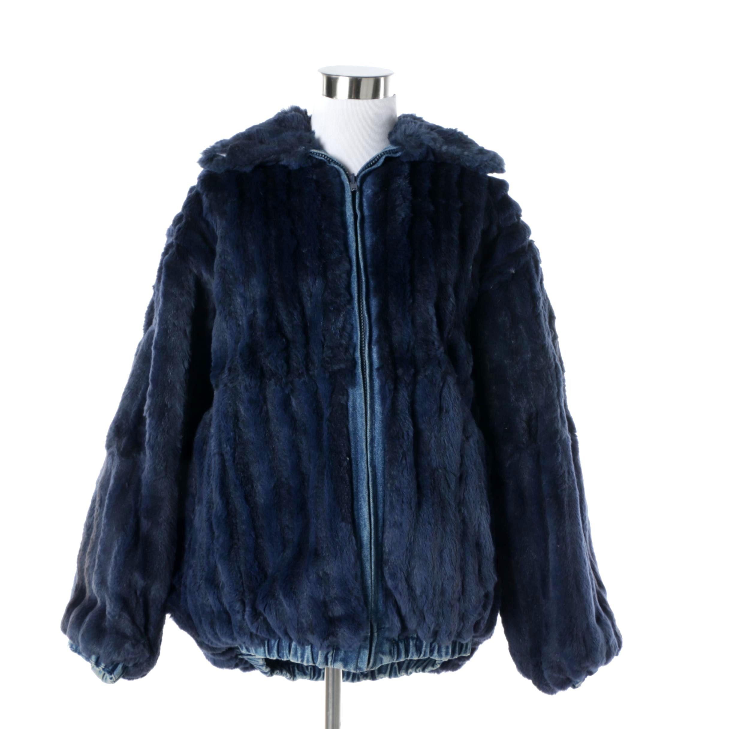 Women's Reversible Sheared Beaver Fur and Denim Jacket