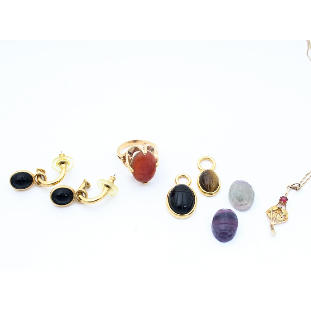 Gold Toned Jewelry with Carved Stone Scarabs