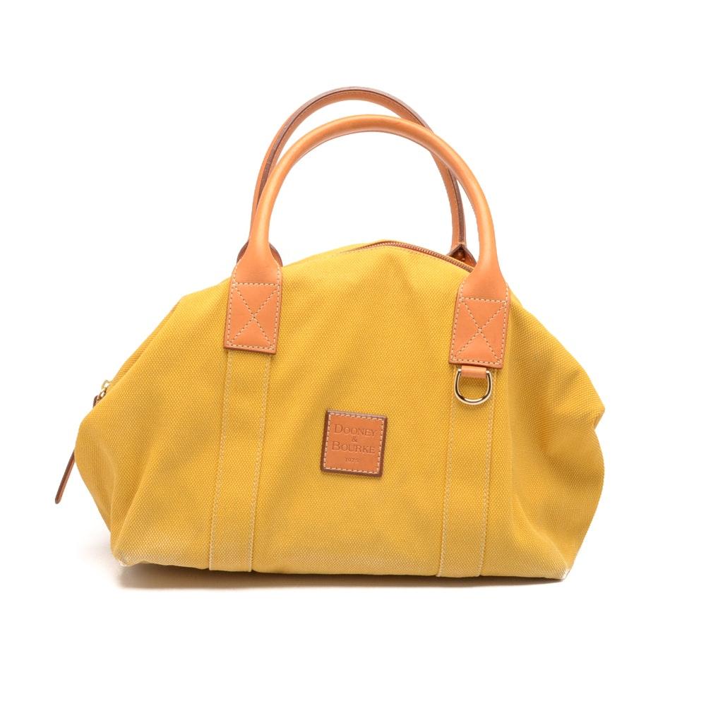 Dooney & Bourke Mustard Canvas Duffle Handbag