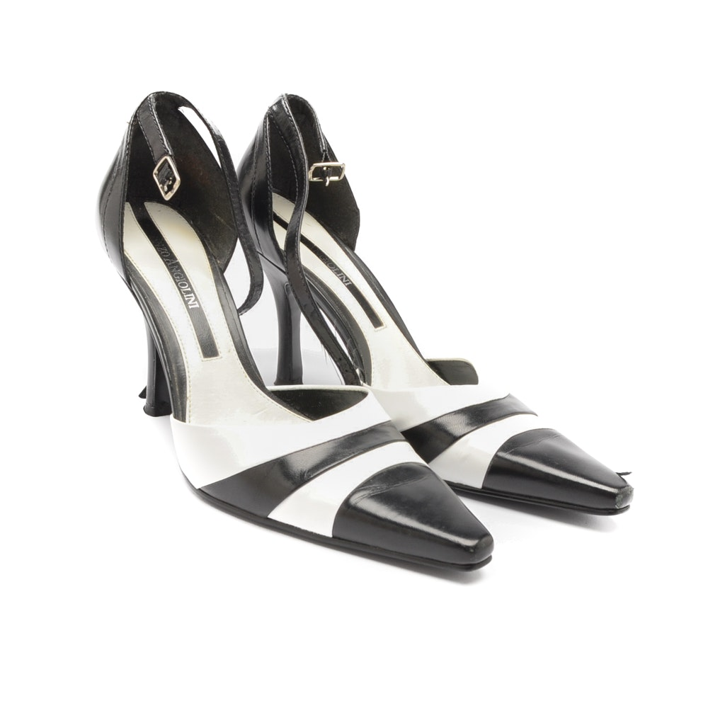 Vintage Black and White Enzo Angiolini Ankle Strap Heels
