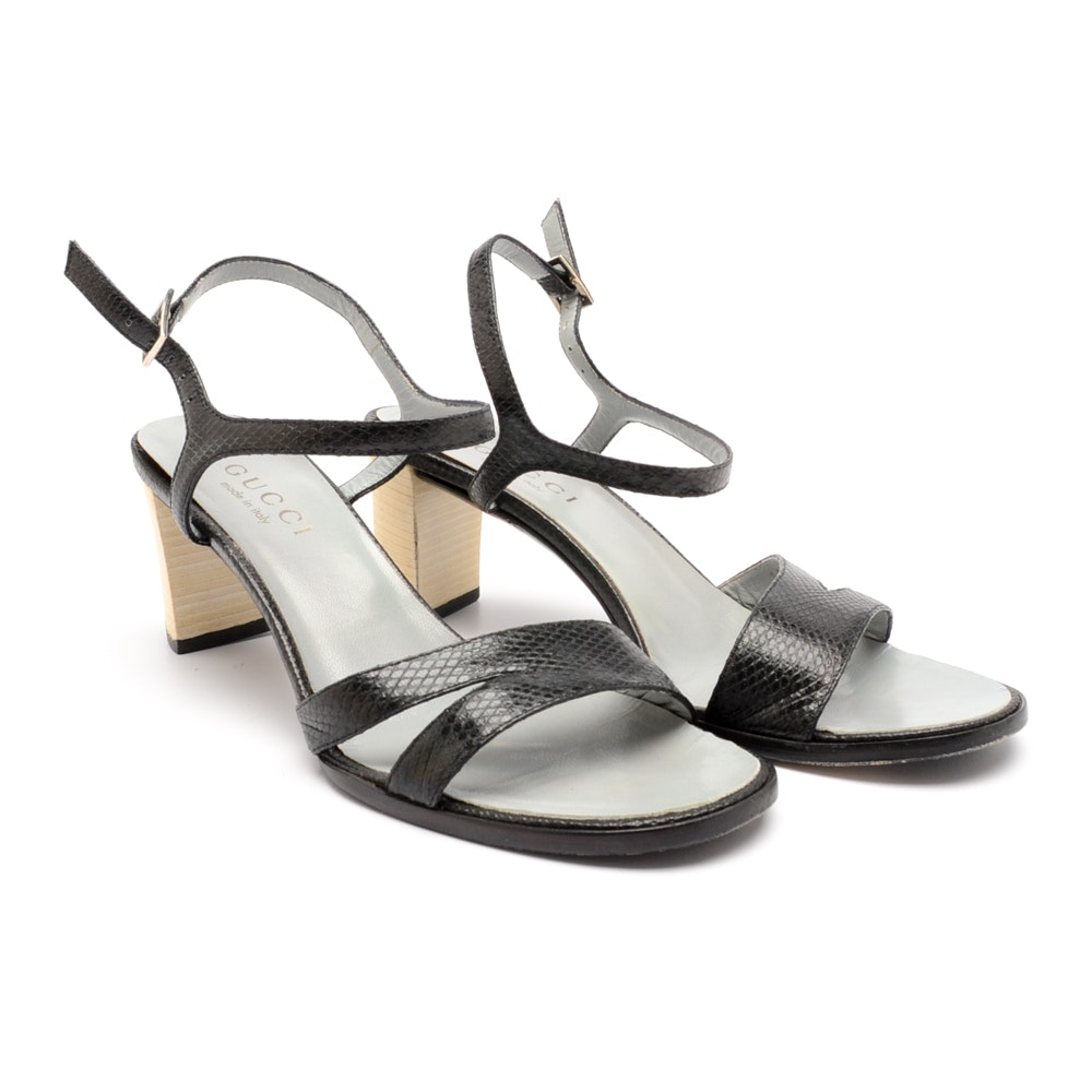 Vintage Black Snakeskin Gucci Sandals with Stacked Block Heels