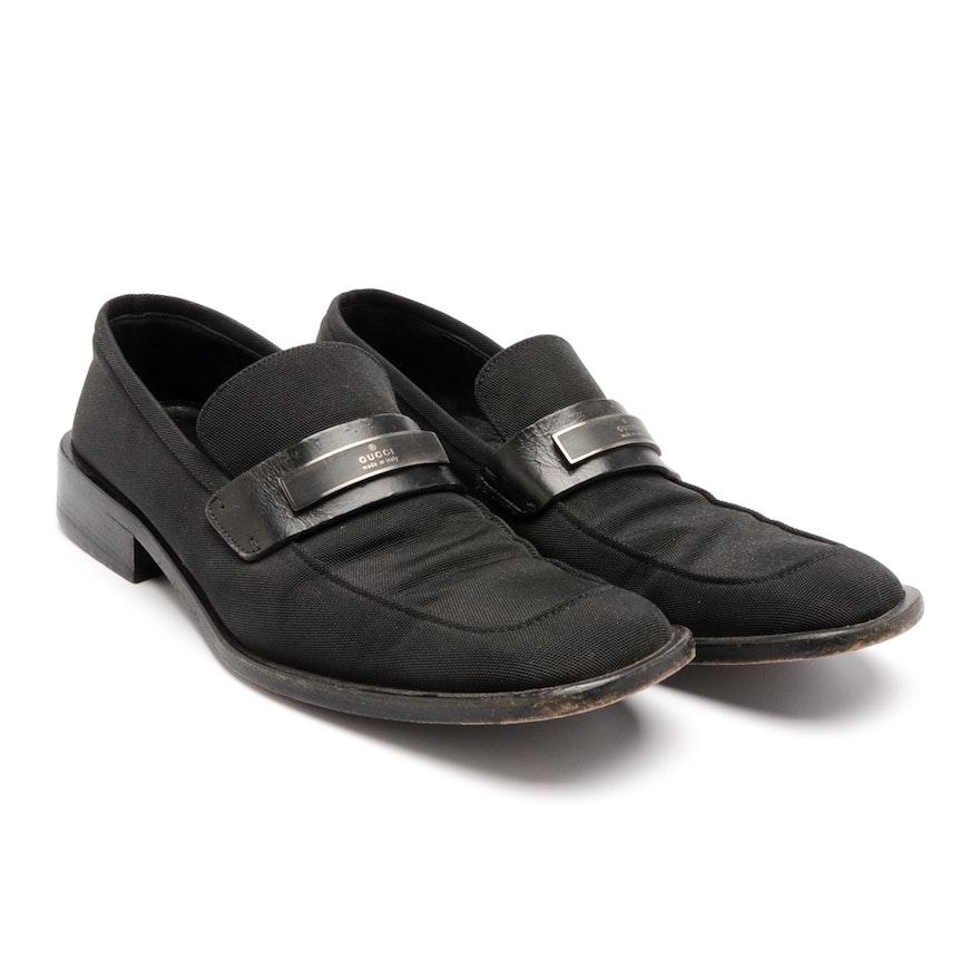 40c205f65 Vintage Gucci Black Canvas Loafers : EBTH