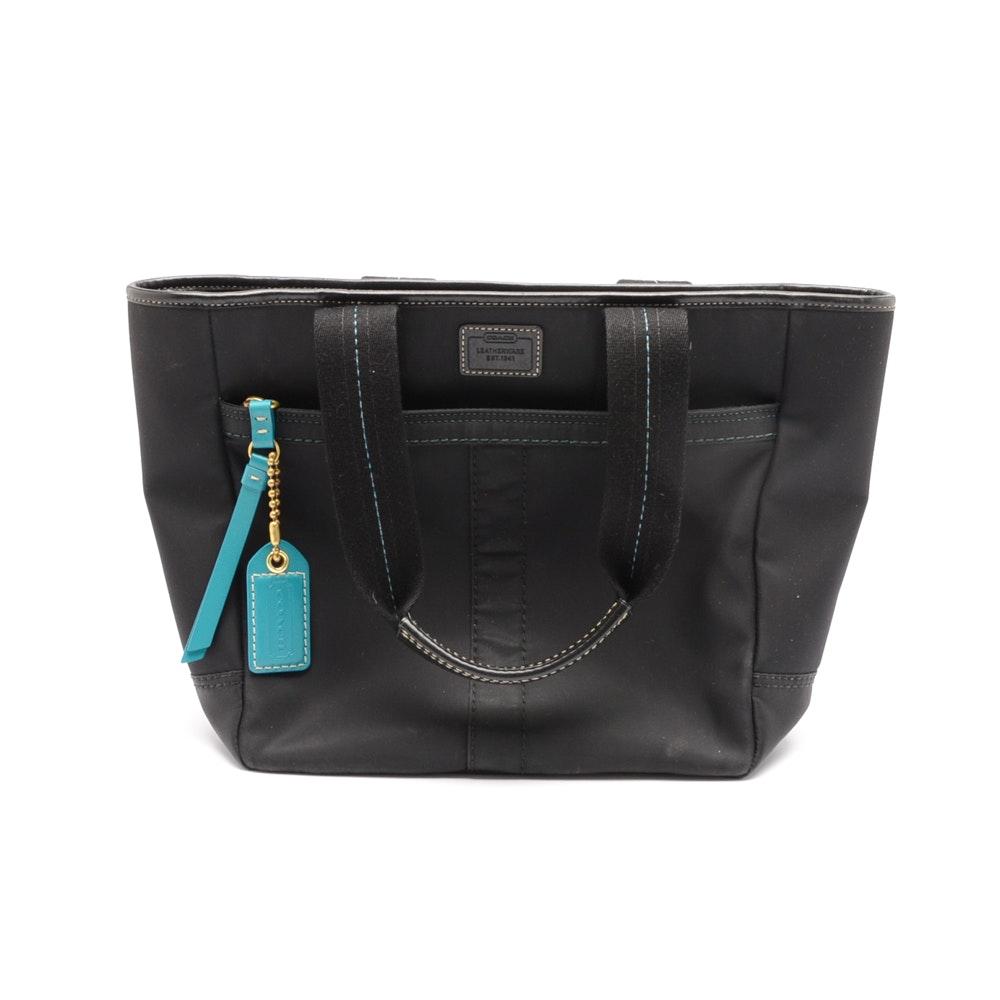 Coach Nylon and Leather Satchel Handbag