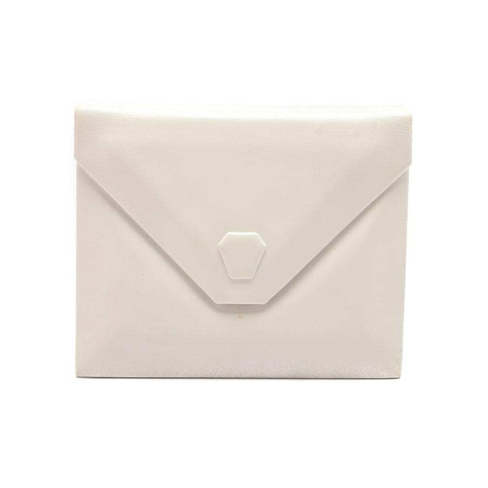 Vintage Charles Jourdan White Leather Clutch Handbag