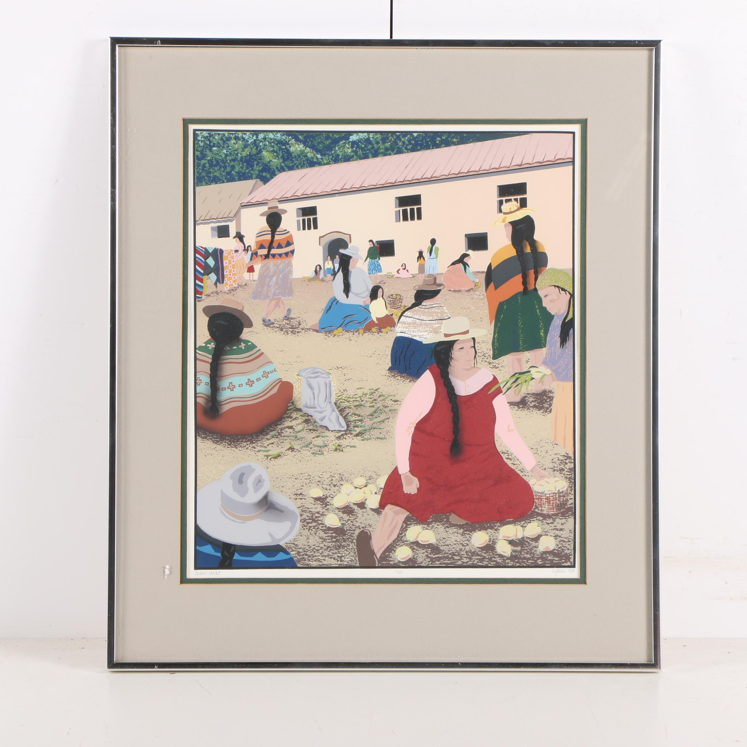 "Liz Collins Limited Edition Serigraph on Paper ""Andean Market"""