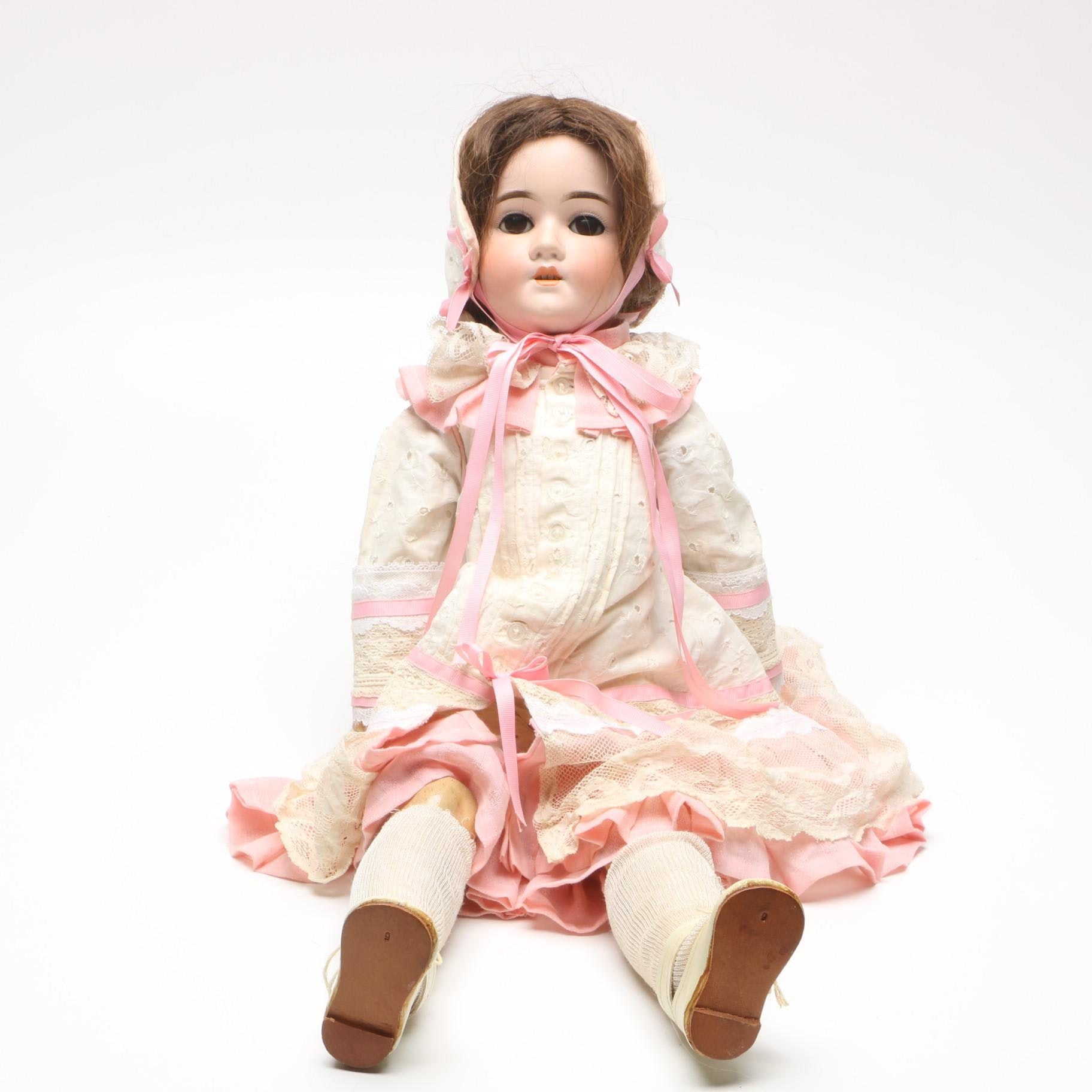 Antique Schoenau & Hoffmeister Bisque Socket Head and Composition Body Doll