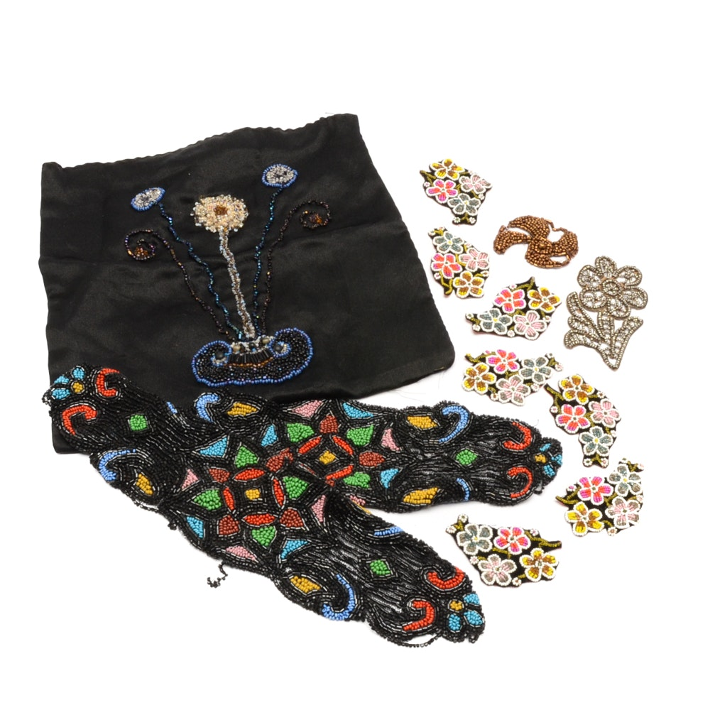 Collection of Floral Beadwork Pieces on Fabric