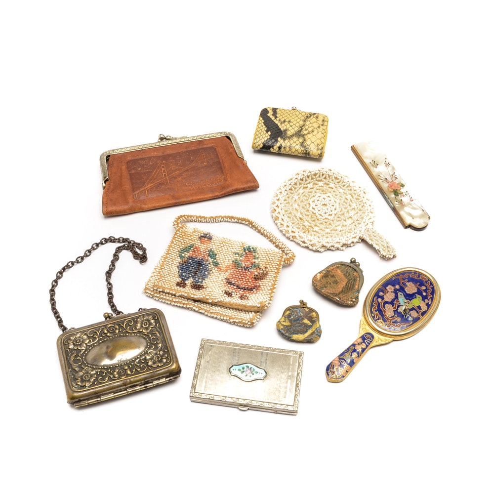 Collection of Vintage Coin Purses, Calling Card Holders and Accessories