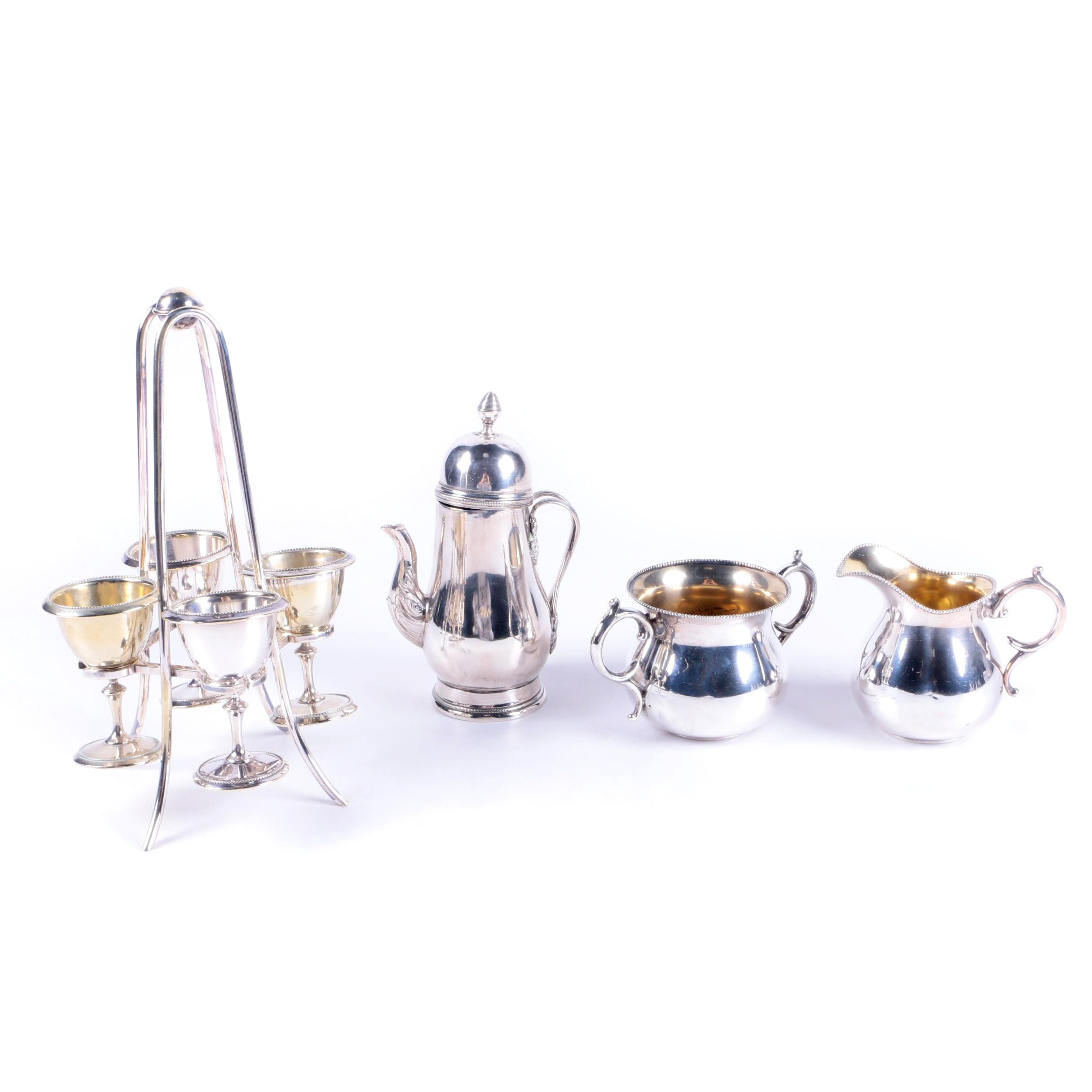 Adelphi Sterling Silver Creamer and Sugar Bowls Set and Other Tableware