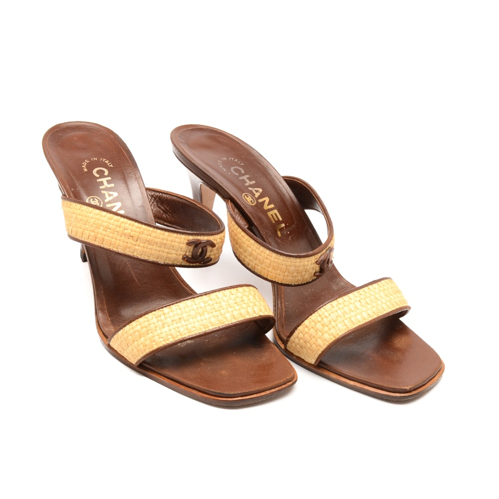 Chanel Brown Leather Slide Sandals