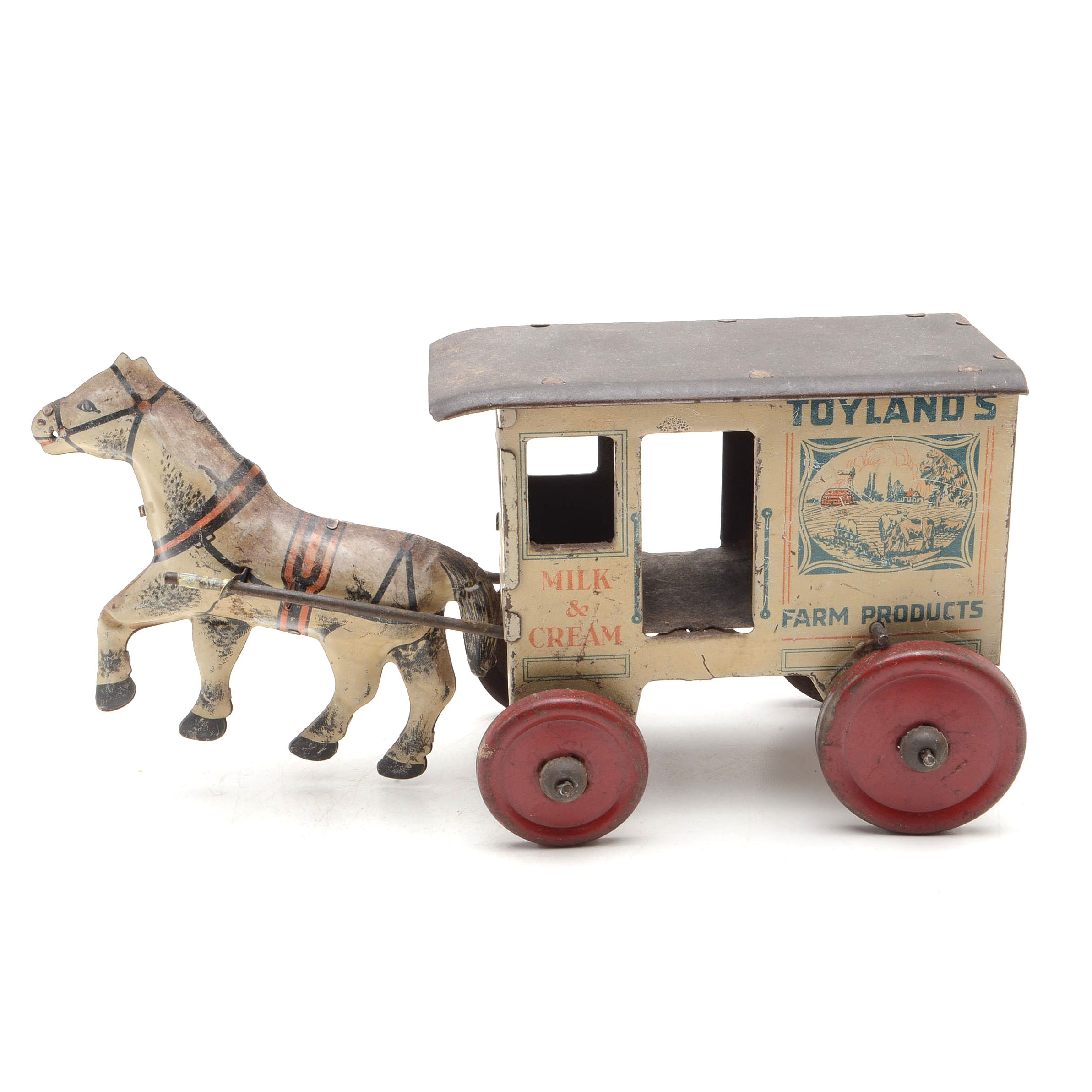 """1930s """"Marx Toys"""" Tin Lithographed Milk and Cream Wagon and Horse"""